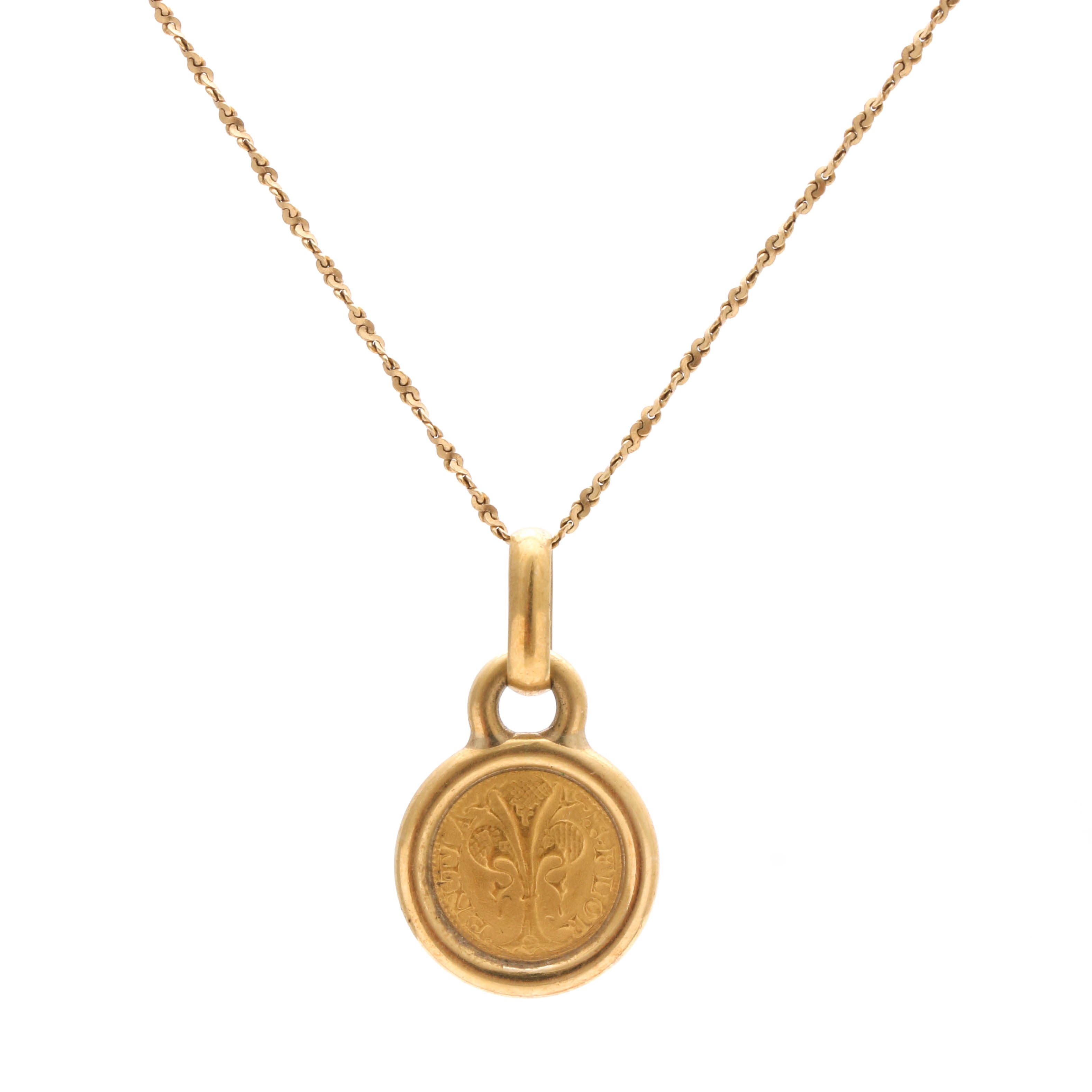 18K Yellow Gold Florentine Coin Necklace, Made in Italy