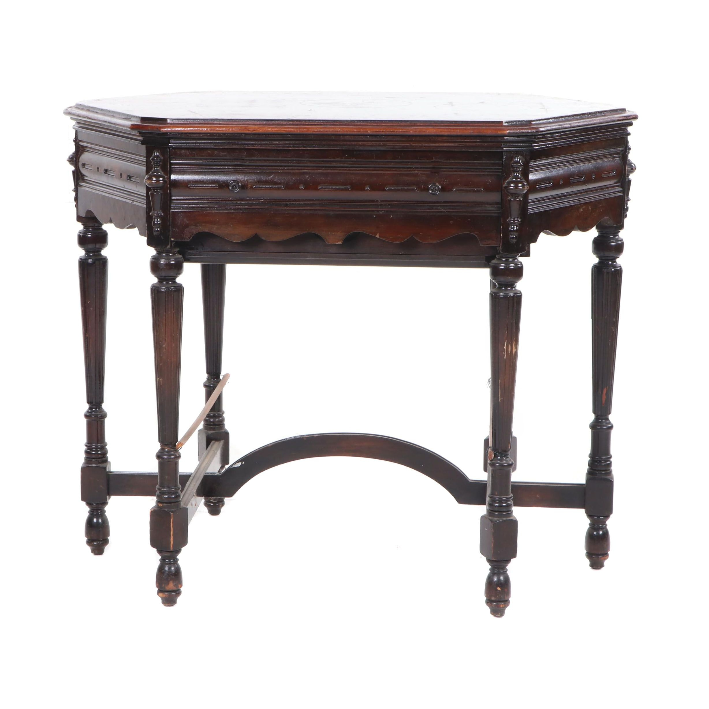 Victorian Figured Mahogany Sewing Table, Late 19th Century