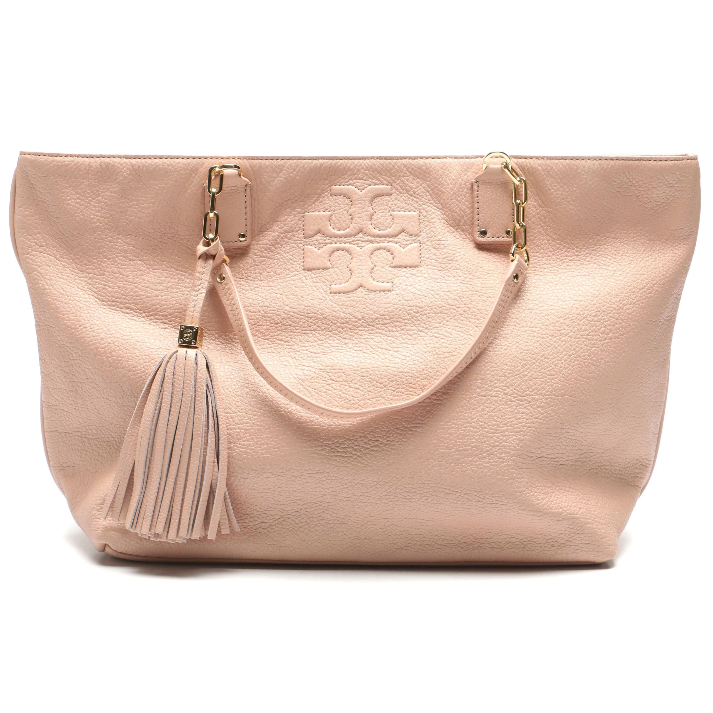 Tory Burch Light Blush Pink Grained Leather Tote Bag