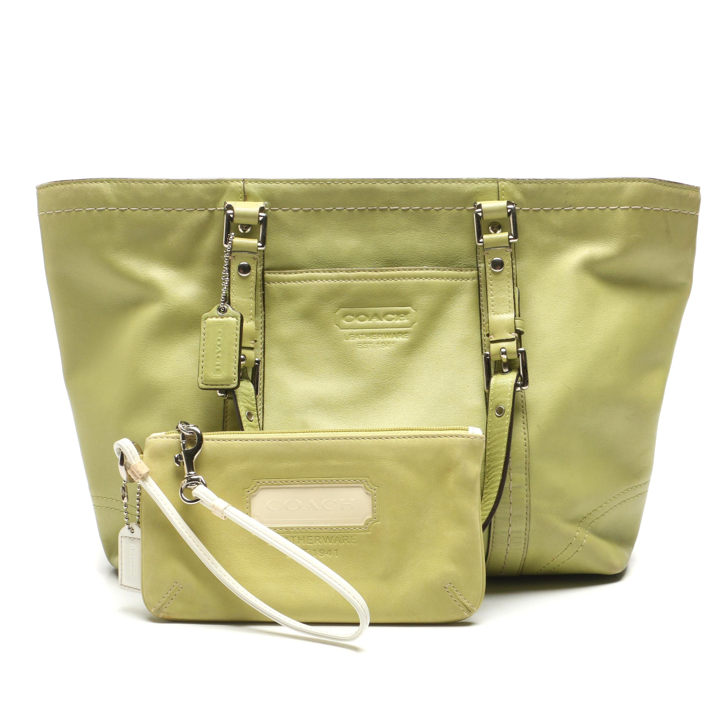 Coach Lime Green Leather Tote Bag and Wristlet