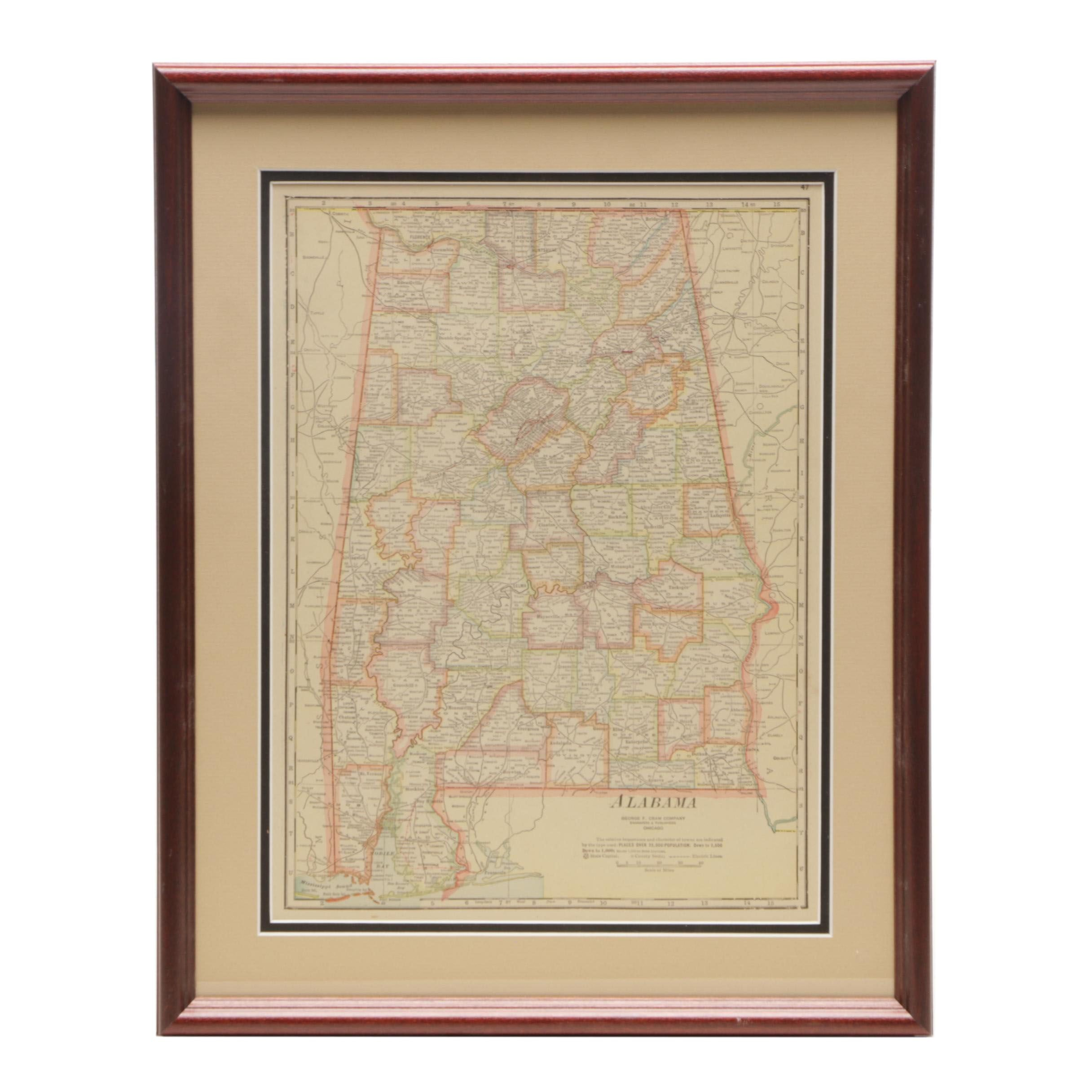George F. Cram Company Map of Alabama