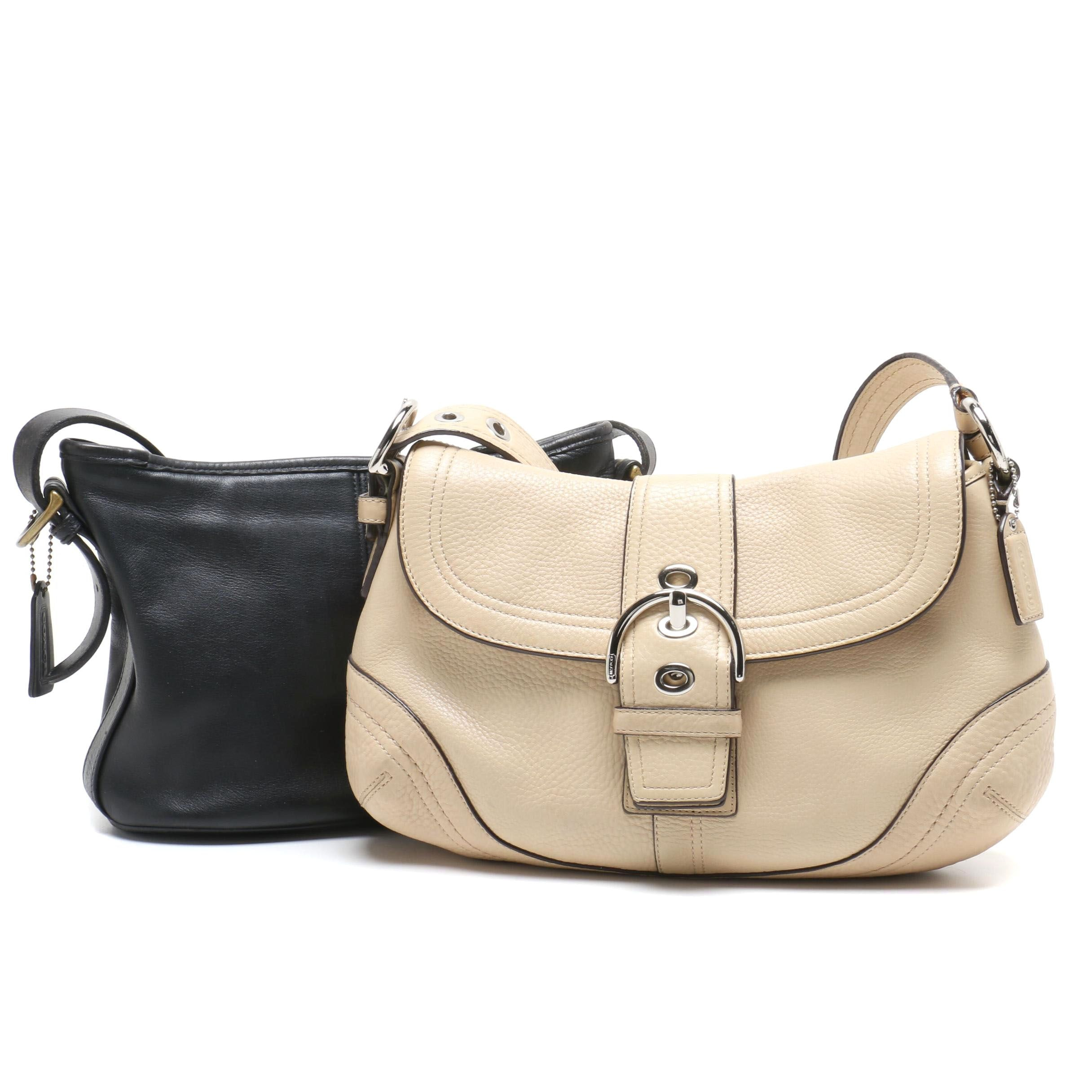 Coach Beige Leather Soho Buckle Flap Bag and Black Leather Worth Soho Bag