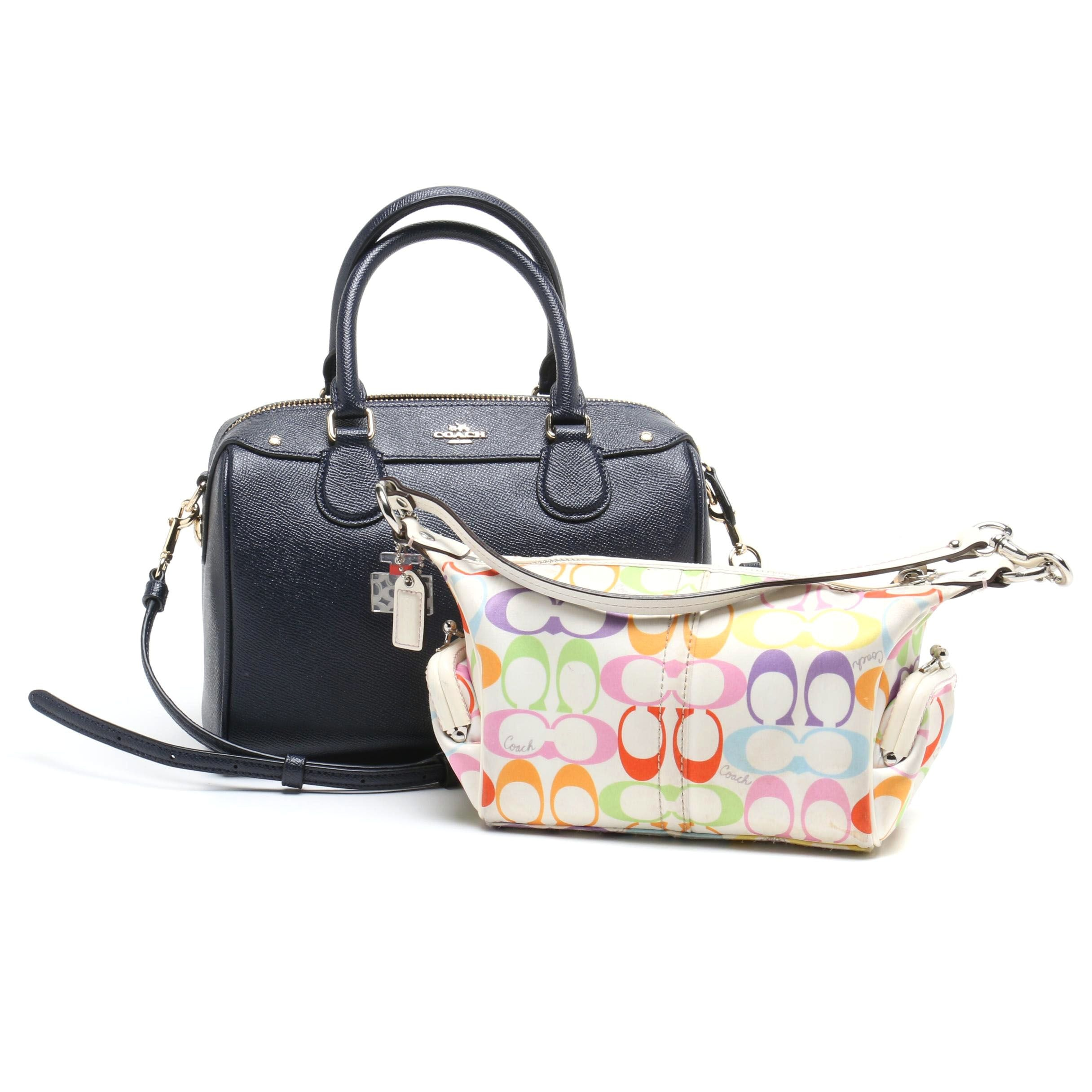 Coach Dark Blue Leather Mini Bennett Satchel and Multicolor Signature Bag