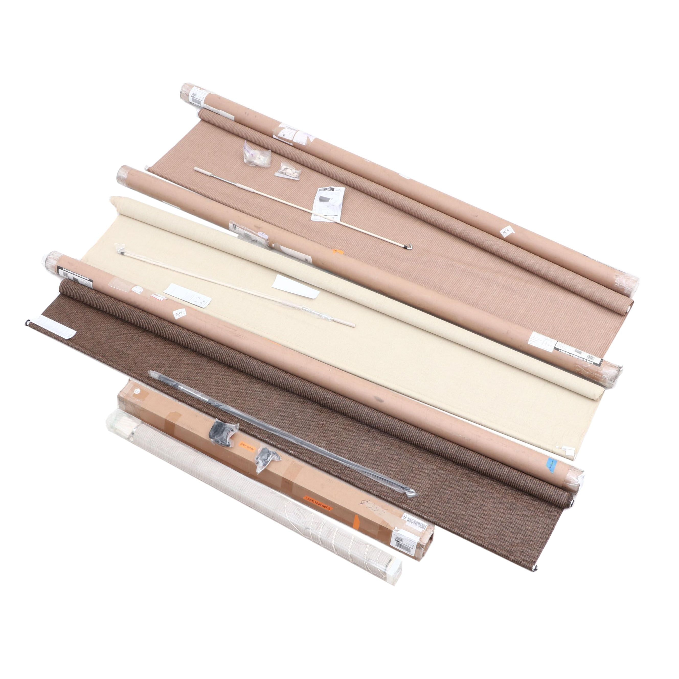 Coolaroo Outdoor Roller Shades in Sesame, Almond, and Mocha