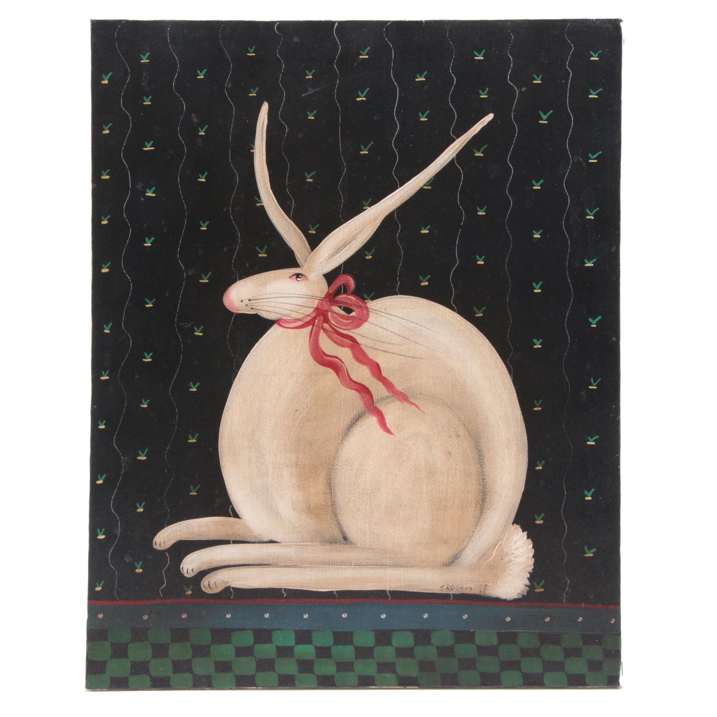 S. Rogers Folk Art Rabbit with Red Ribbon Acrylic Painting