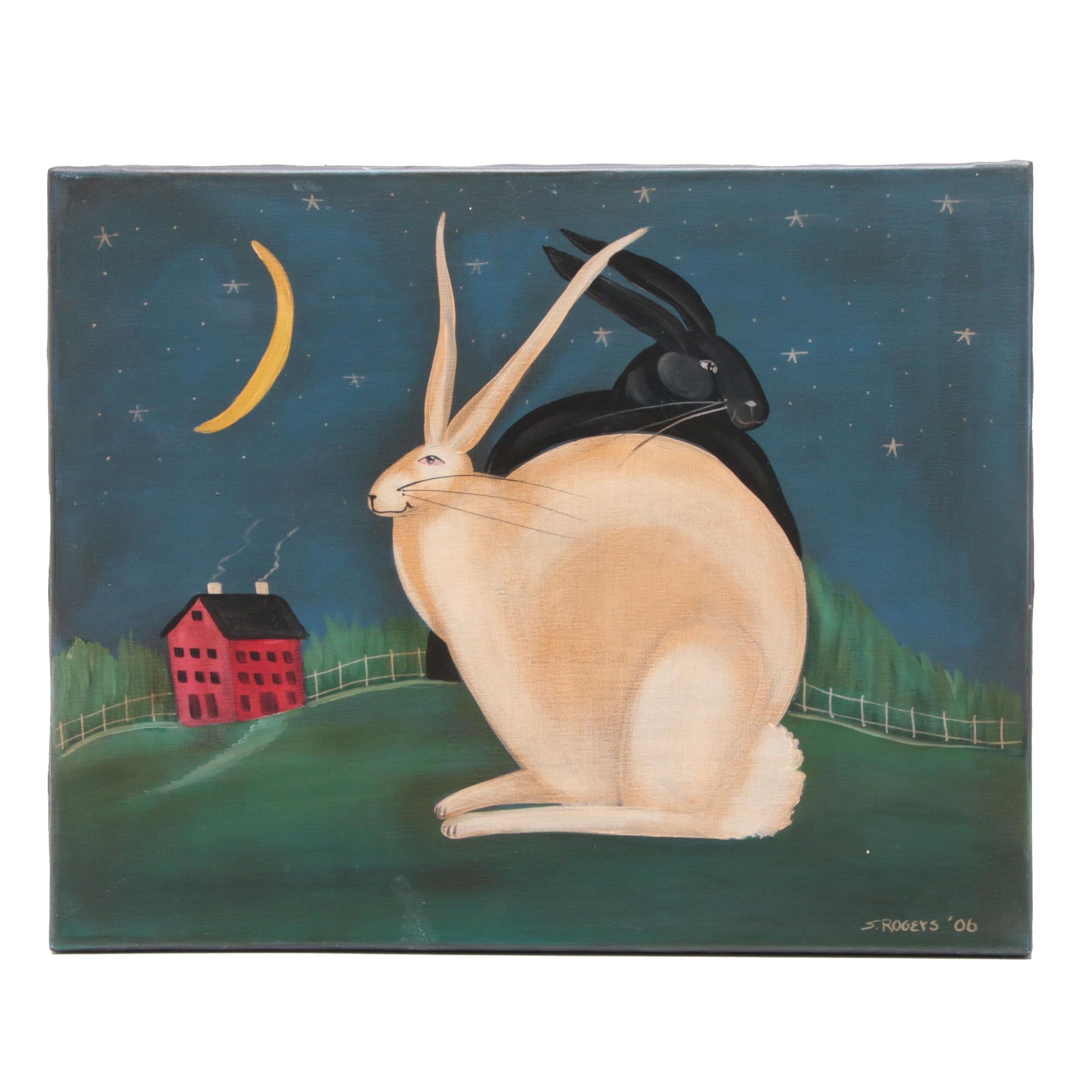 S. Rogers Folk Art Rabbits Acrylic Painting