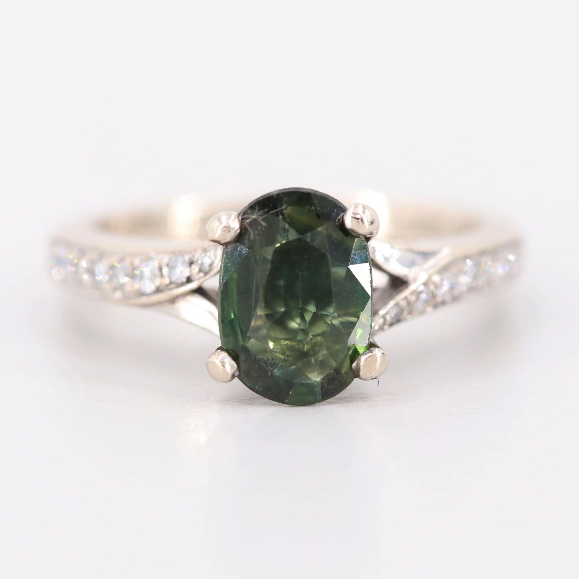 S. Kashi 14K Yellow Gold Green Sapphire and Diamond Ring