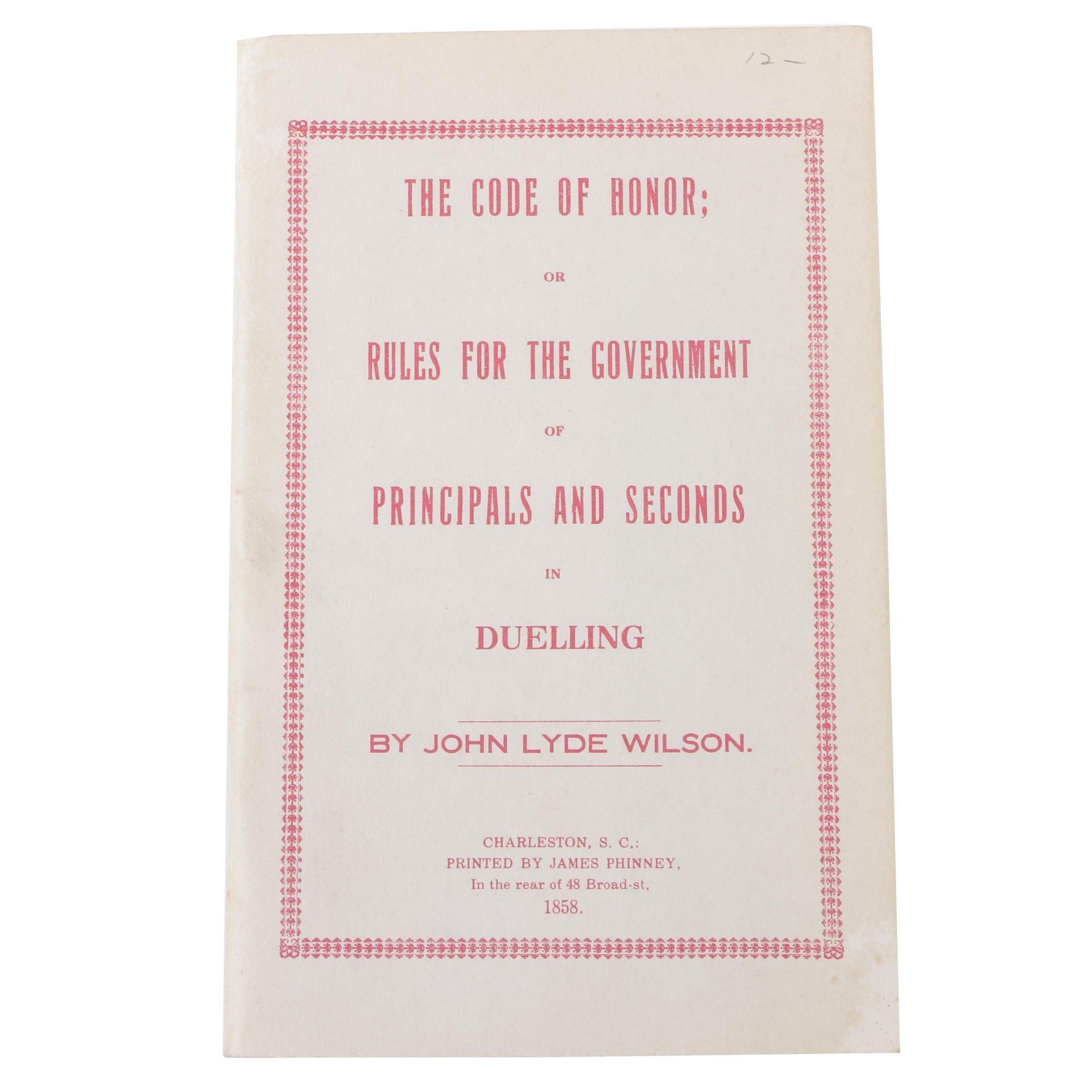 "1858 ""Code of Honor in Duelling"" by John Lyde Wilson"