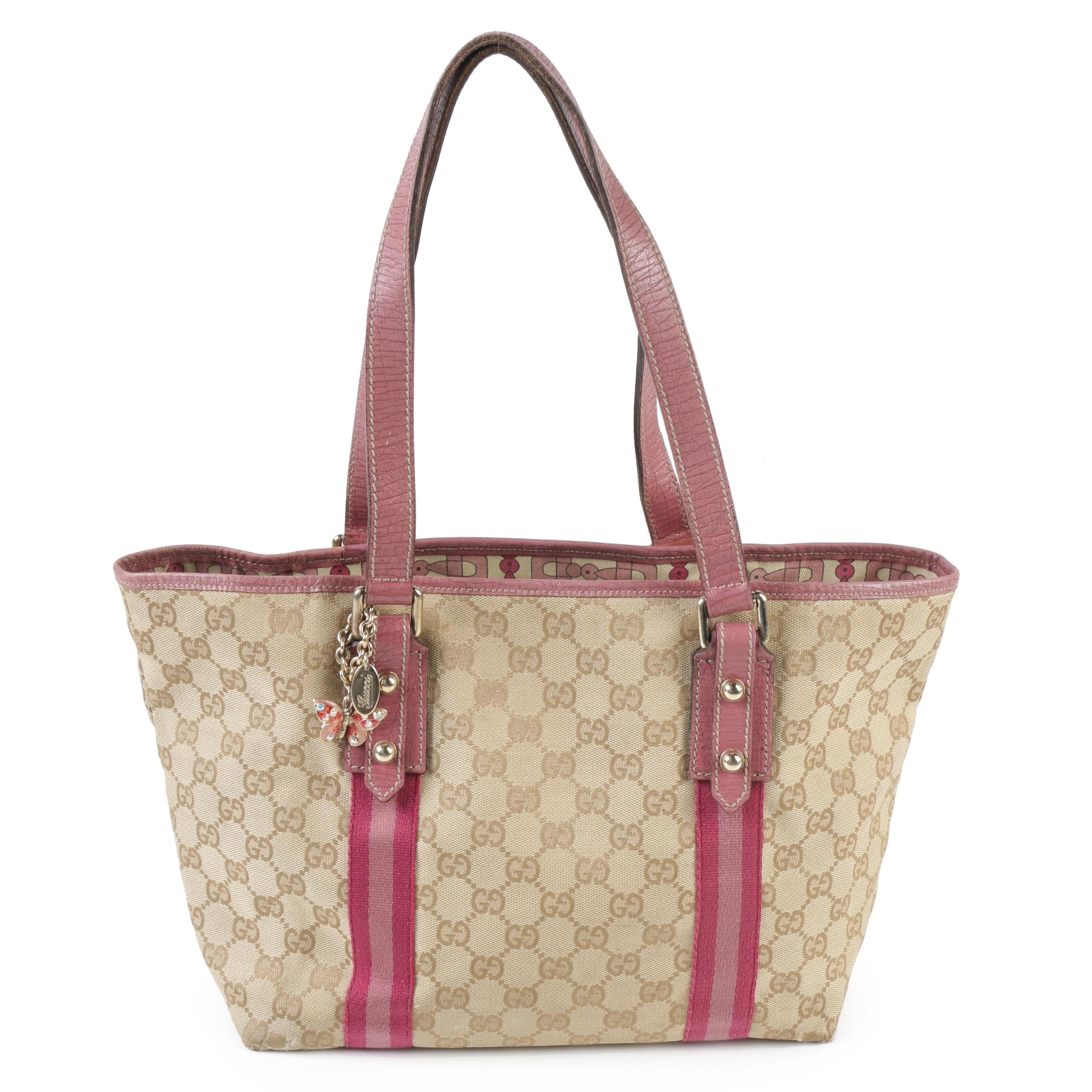 Gucci GG Canvas and Pink Leather Shoulder Tote with Embellished Butterfly Charm