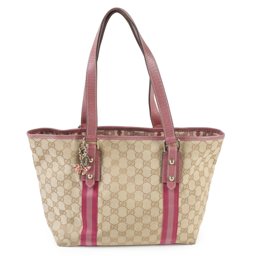 254b777c6834 Gucci GG Canvas and Pink Leather Shoulder Tote with Embellished Butterfly  Charm ...