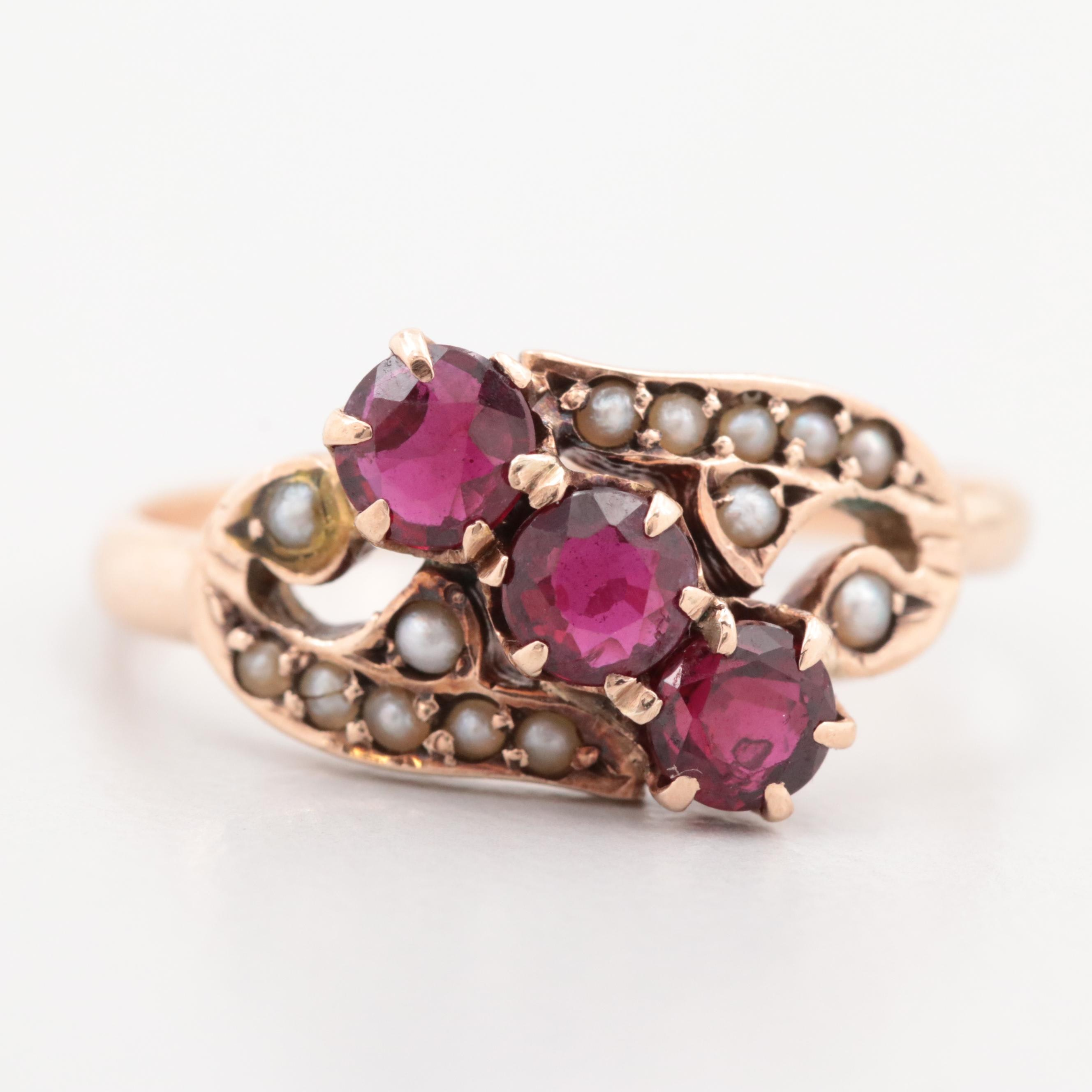 Victorinan 10K Rose Gold Ruby and Cultured Pearl Ring