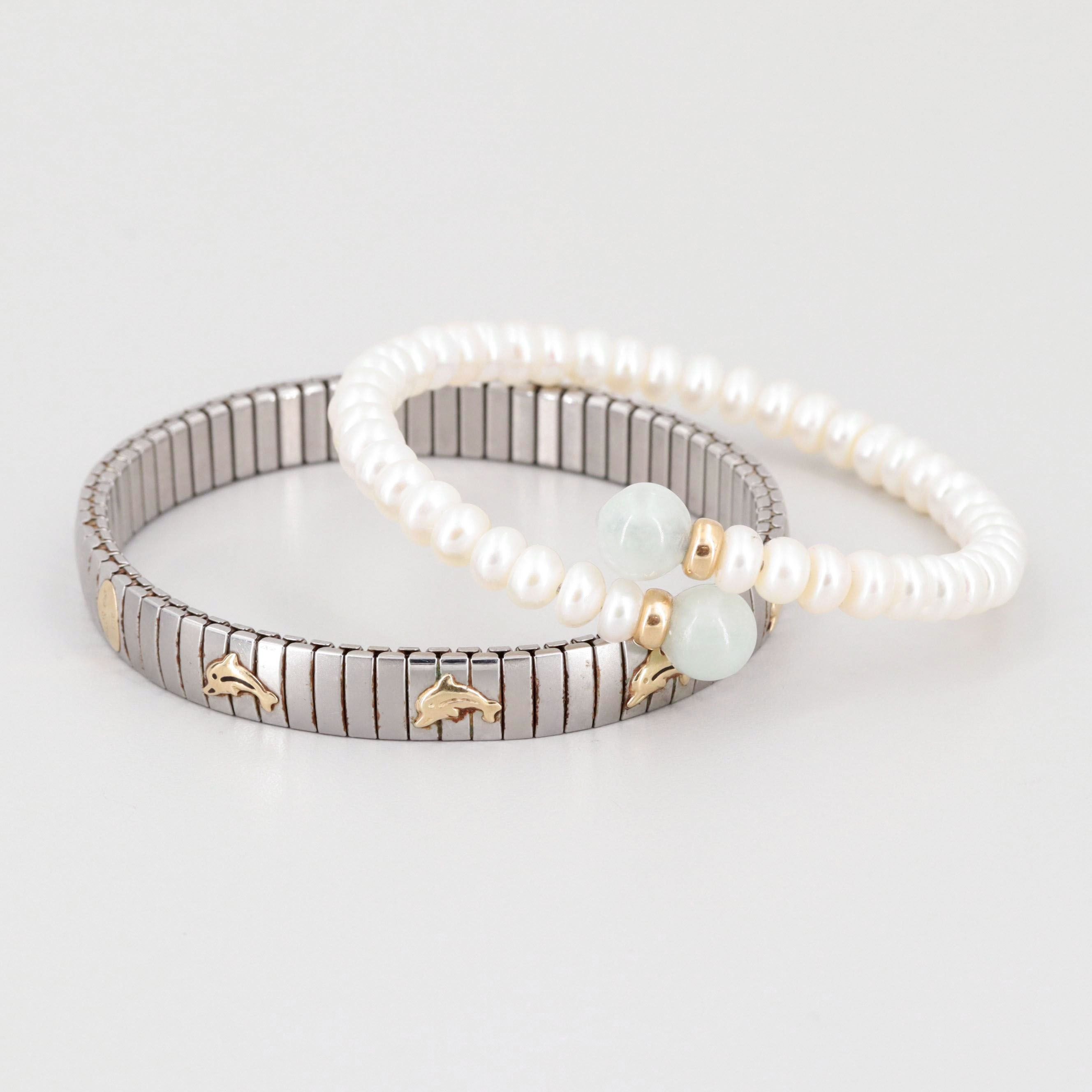 Silver Tone Jadeite and Cultured Pearl Bracelets with 14K Yellow Gold Accents
