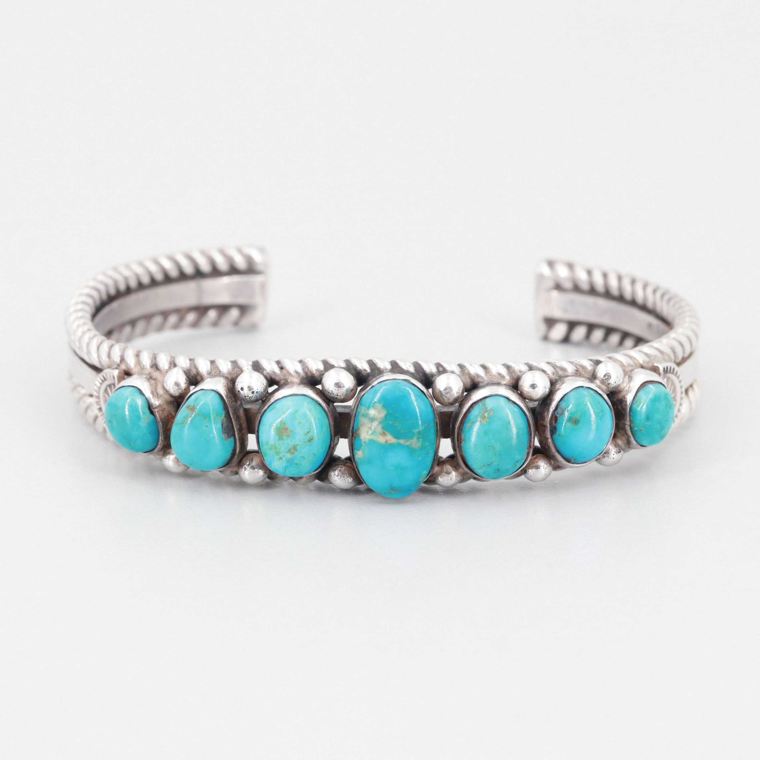 Albert Payton Navajo Diné Sterling Silver and Turquoise Cuff Bracelet