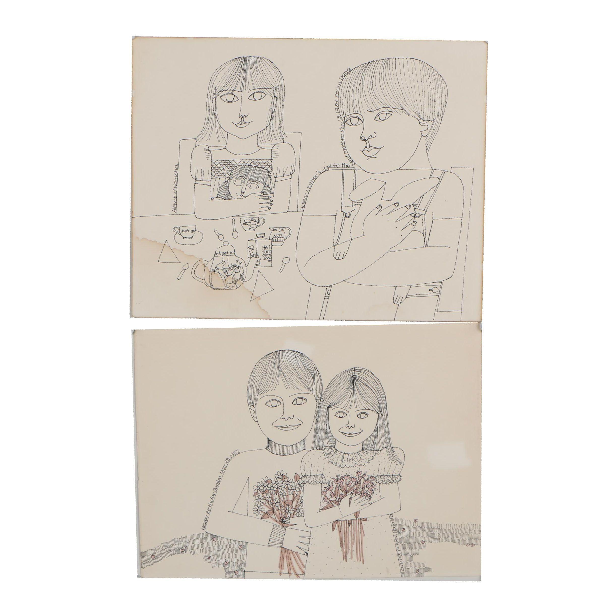 Dana Martin Figural Ink Drawings, 1984 and 1987