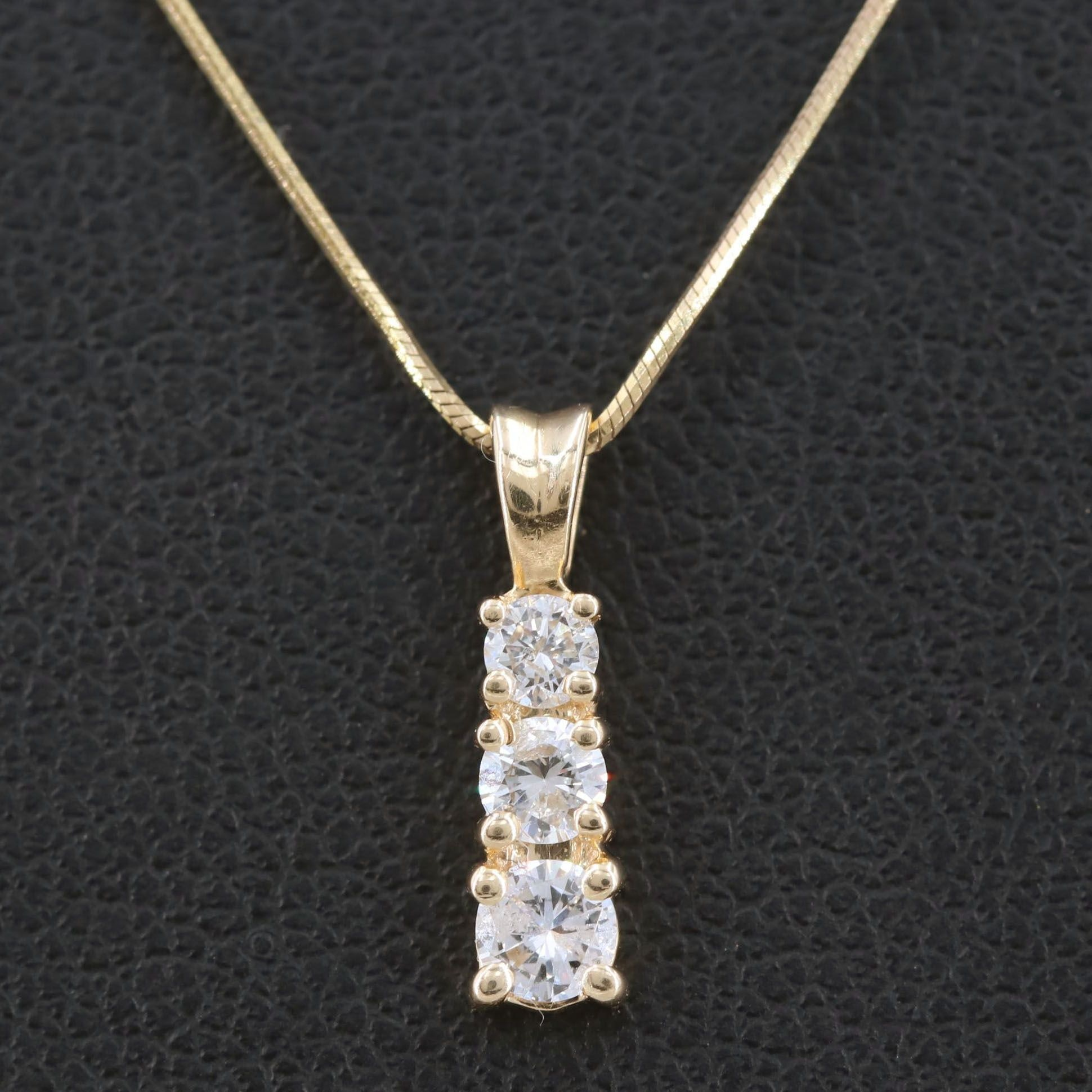 14K Yellow Gold Diamond Pendant with 10K Yellow Gold Chain Necklace