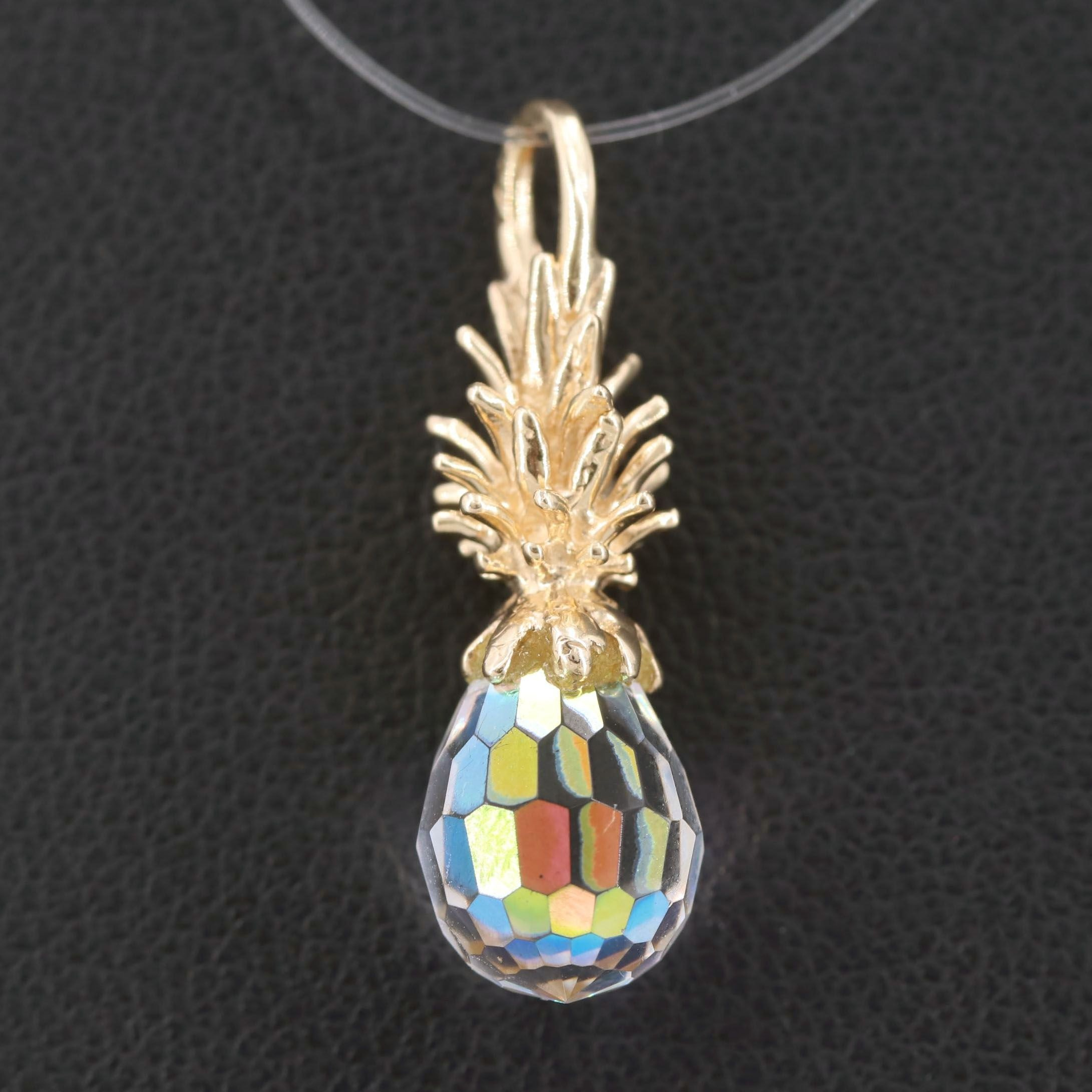 14K Yellow Gold Glass Pineapple Pendant