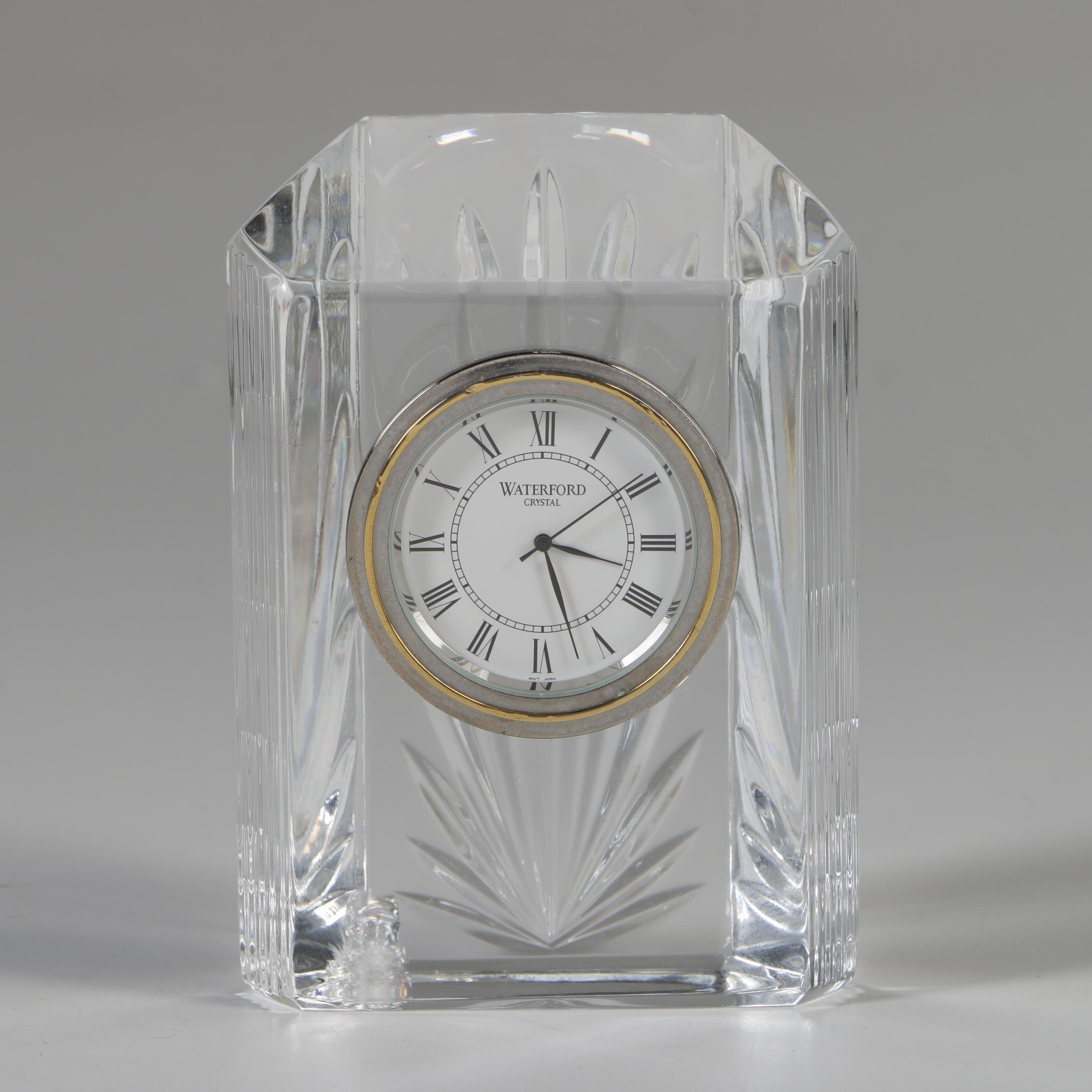 "Waterford Crystal ""Colonnade"" Quartz Shelf Clock"