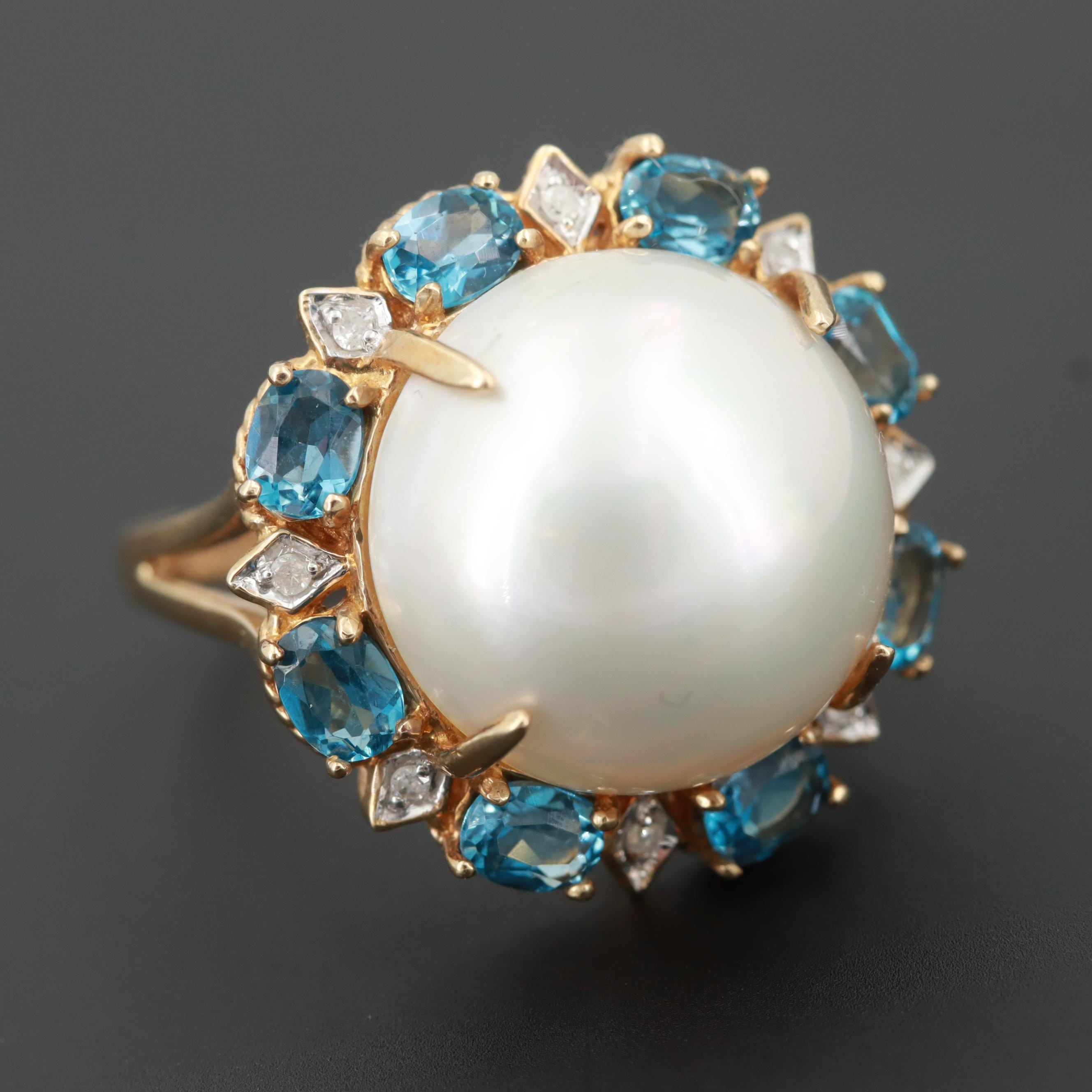 10K Yellow Gold Cultured Pearl, Blue Topaz and Diamond Ring