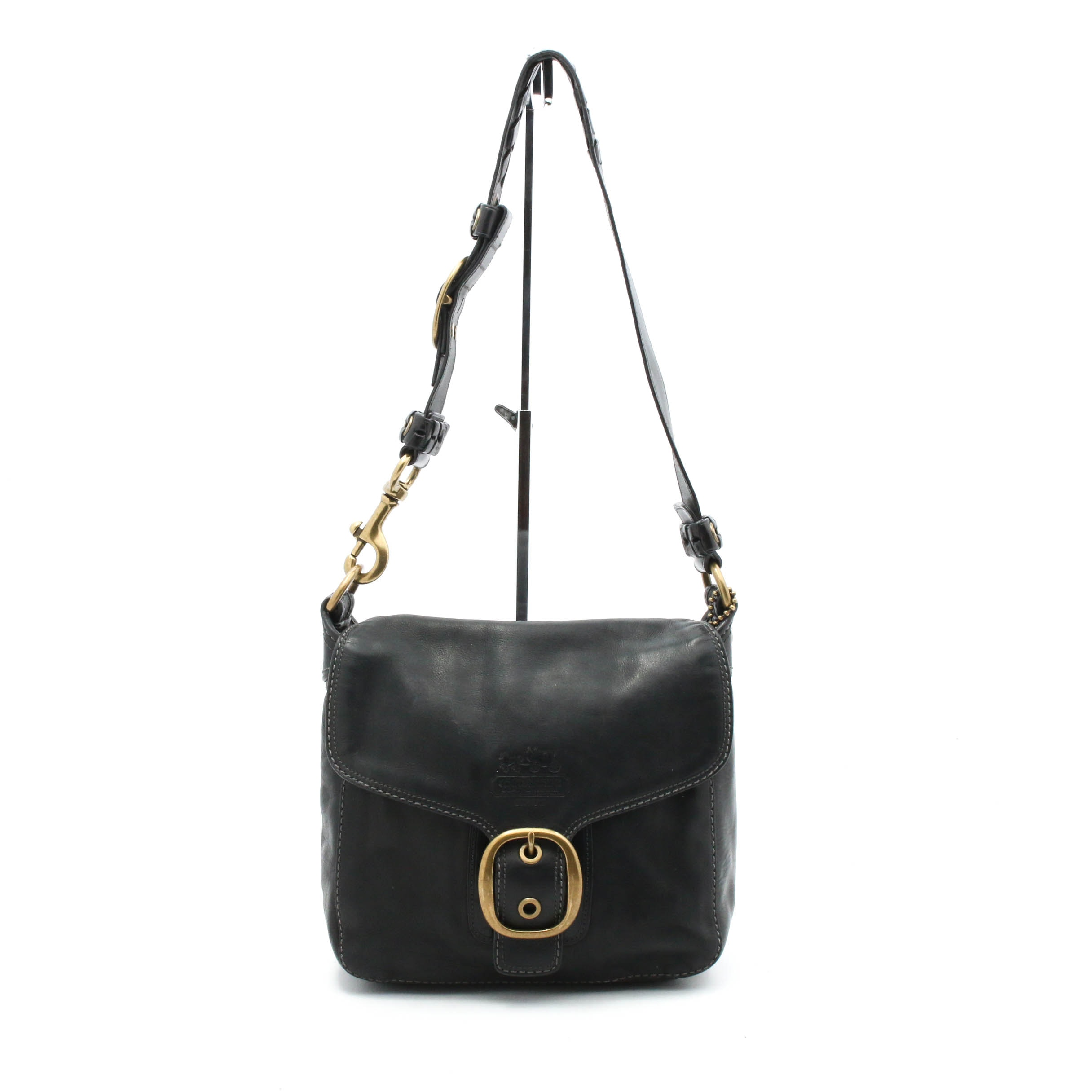 Coach Bleeker Black Leather Flap Front Shoulder Bag