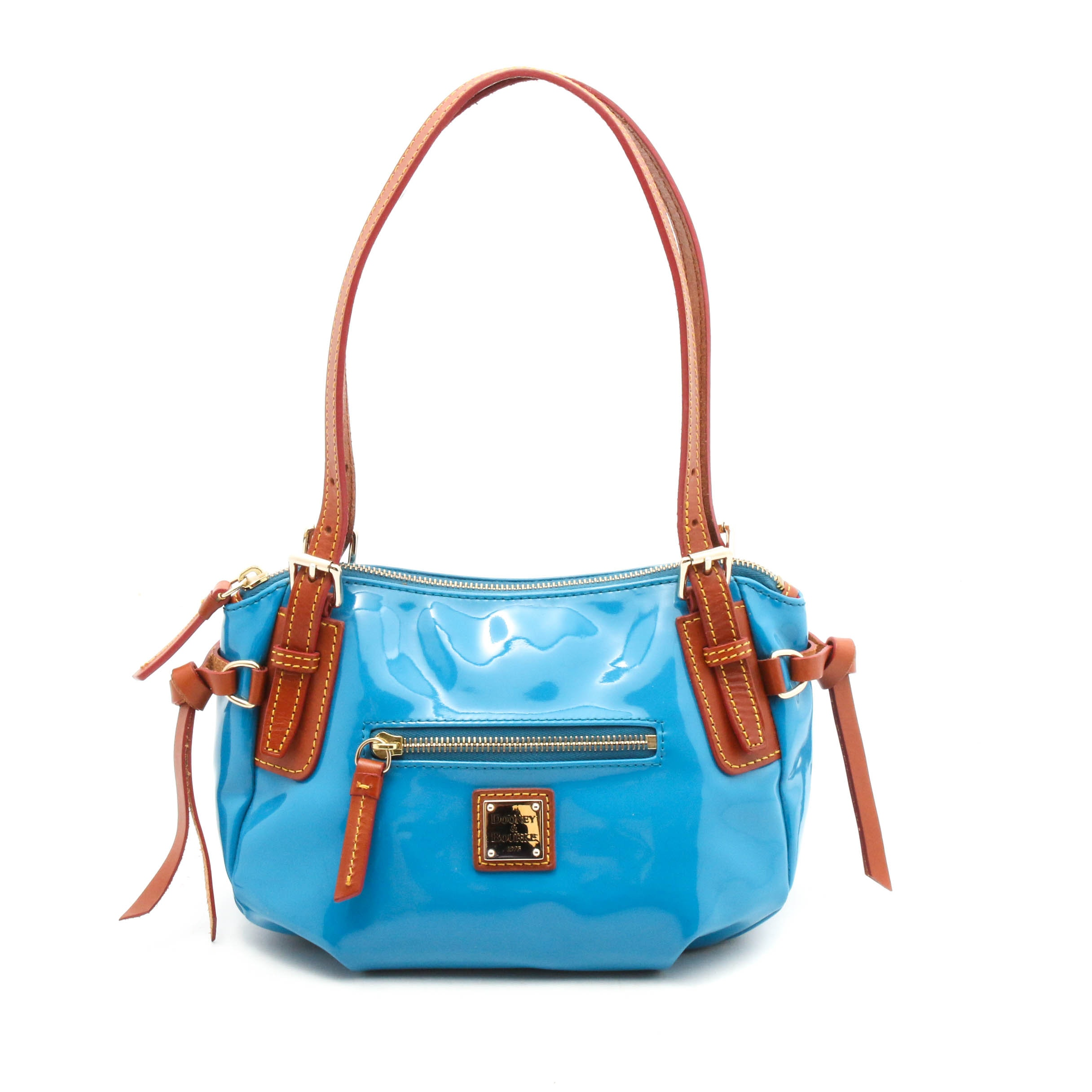 Dooney & Bourke Blue Patent Leather and Brown Leather Top Handle Handbag