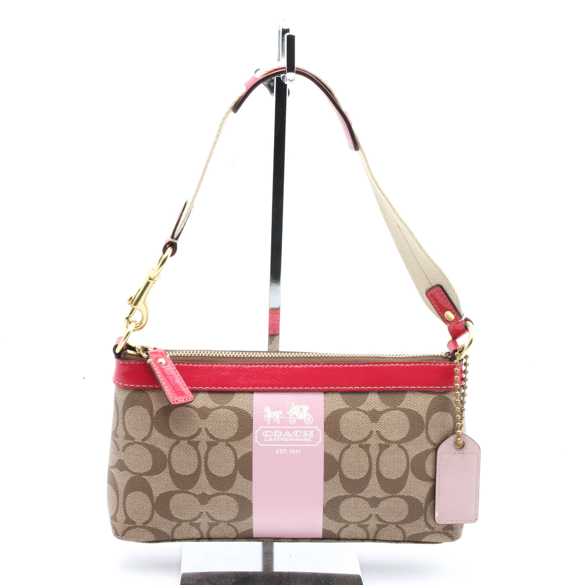 Coach Signature Coated Canvas Monogram Heritage Stripe Handbag