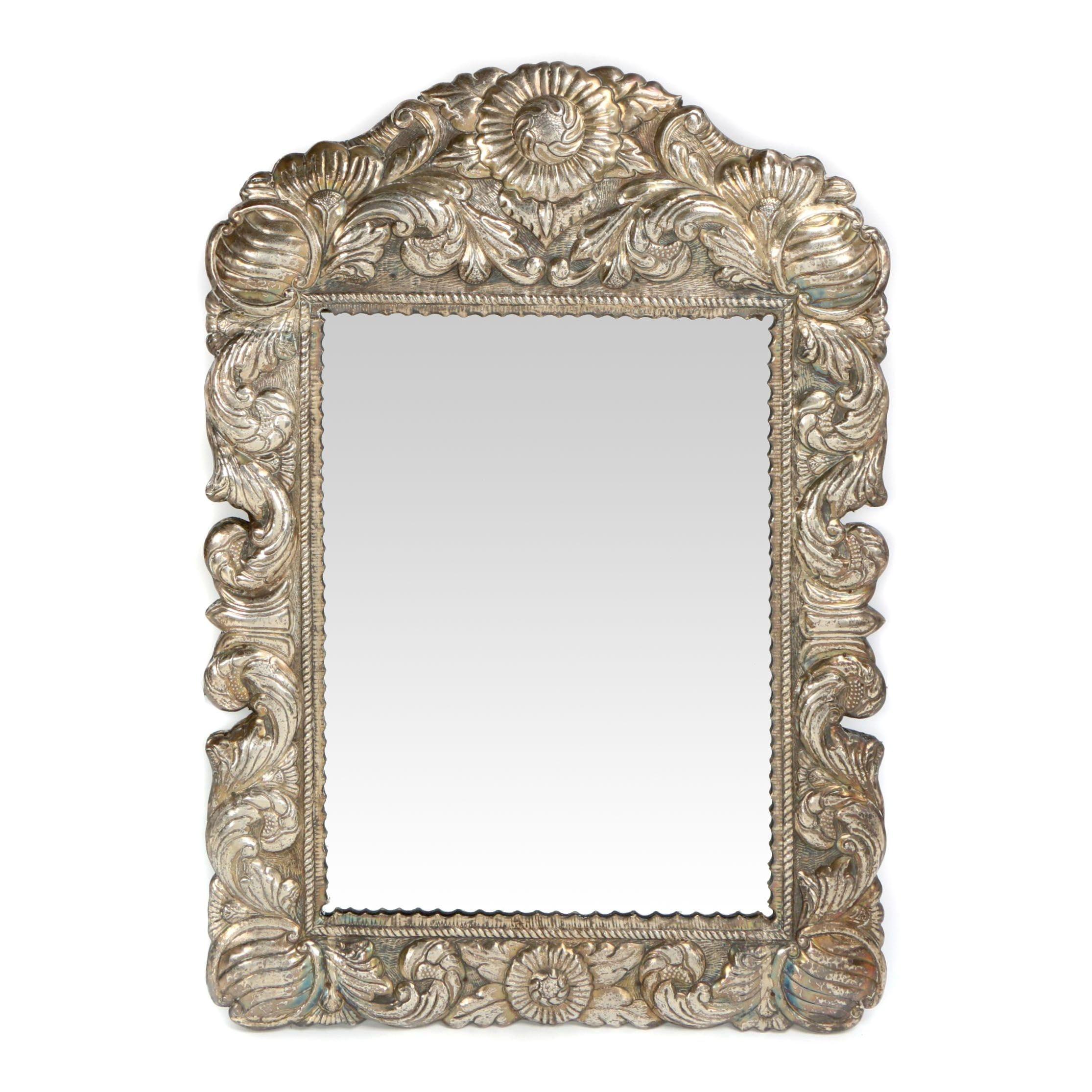 Floral Embossed Silver Tone Metal Beveled Mirror