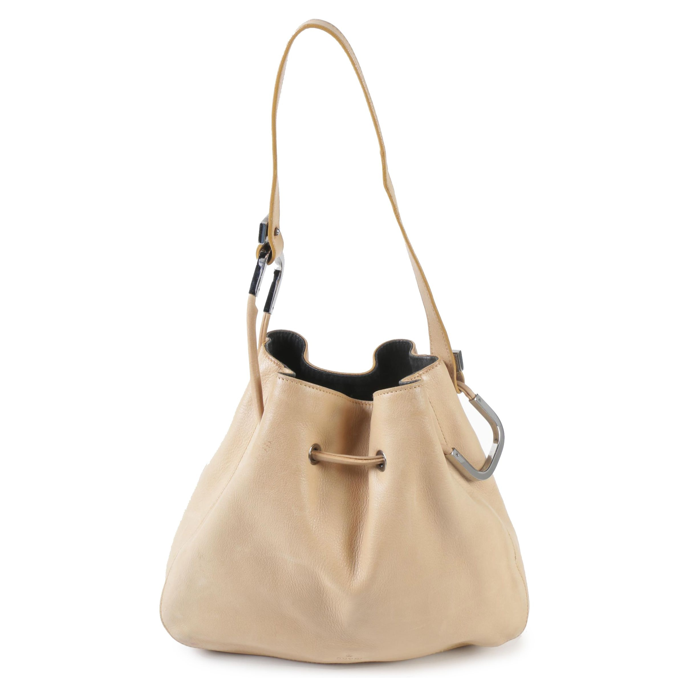 Gucci Beige Leather Drawstring Hobo Bag, Made in Italy