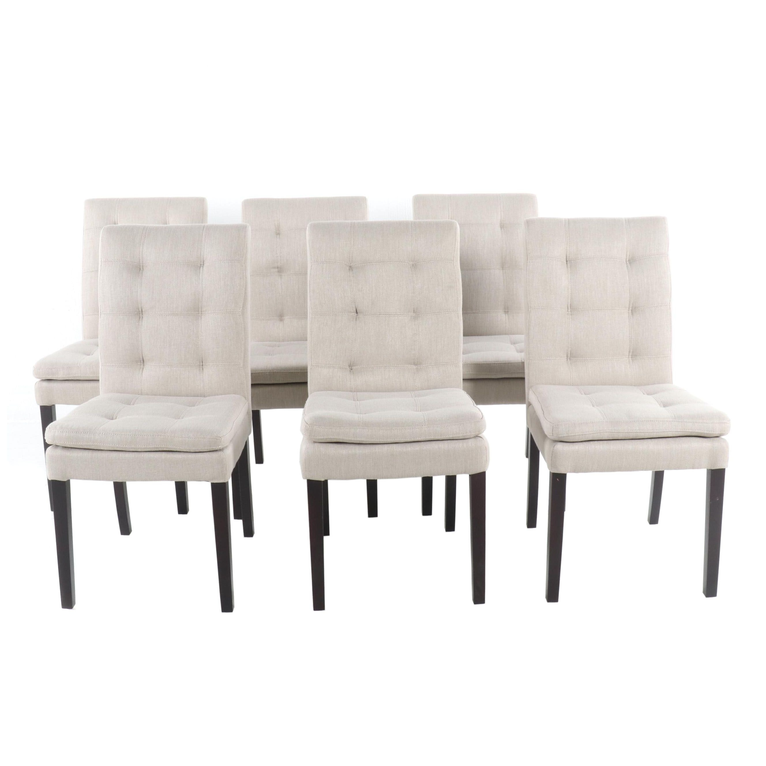 Contemporary Linen Style Side Chairs, 21st Century
