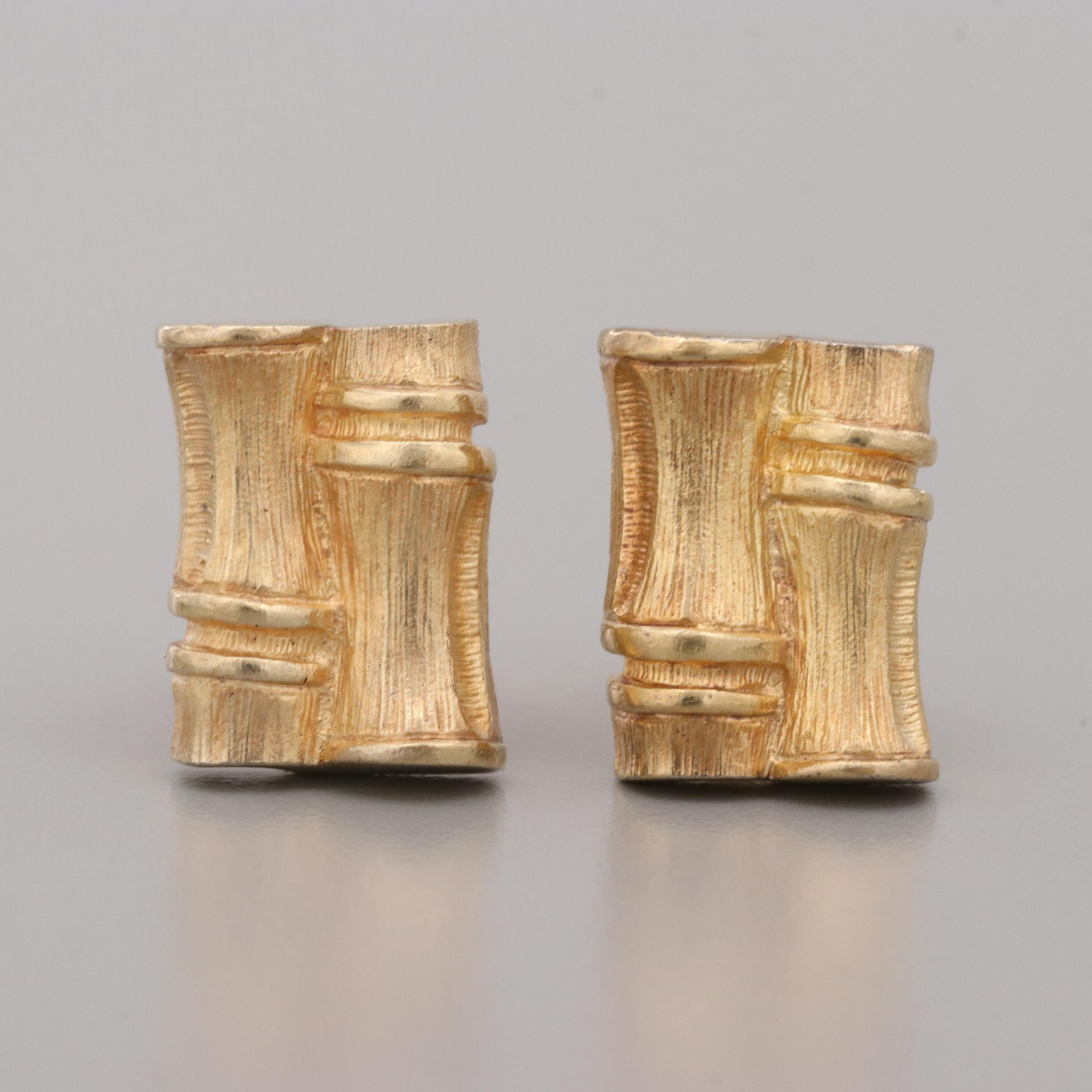 Gold Wash on Sterling Silver Bamboo Shoot Motif Cufflinks