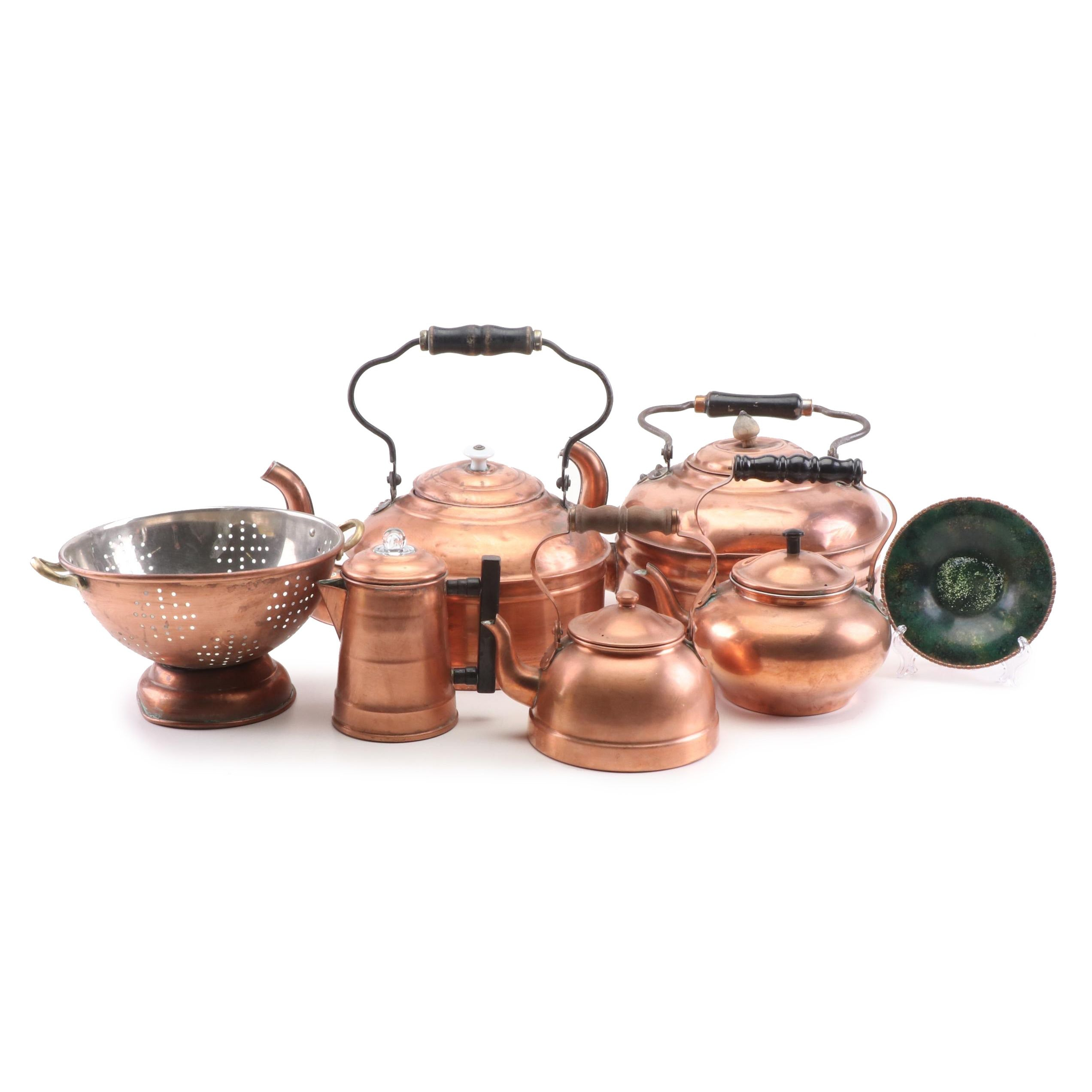 Copper Tea Kettles, Colander, and Decorative Plate