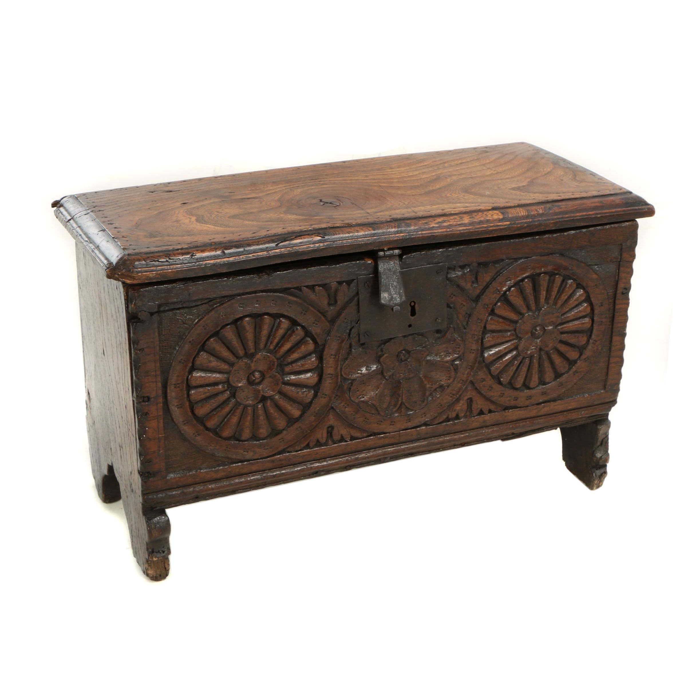 Small English Carved Oak and Elm Plank Chest, 17th/18th Century