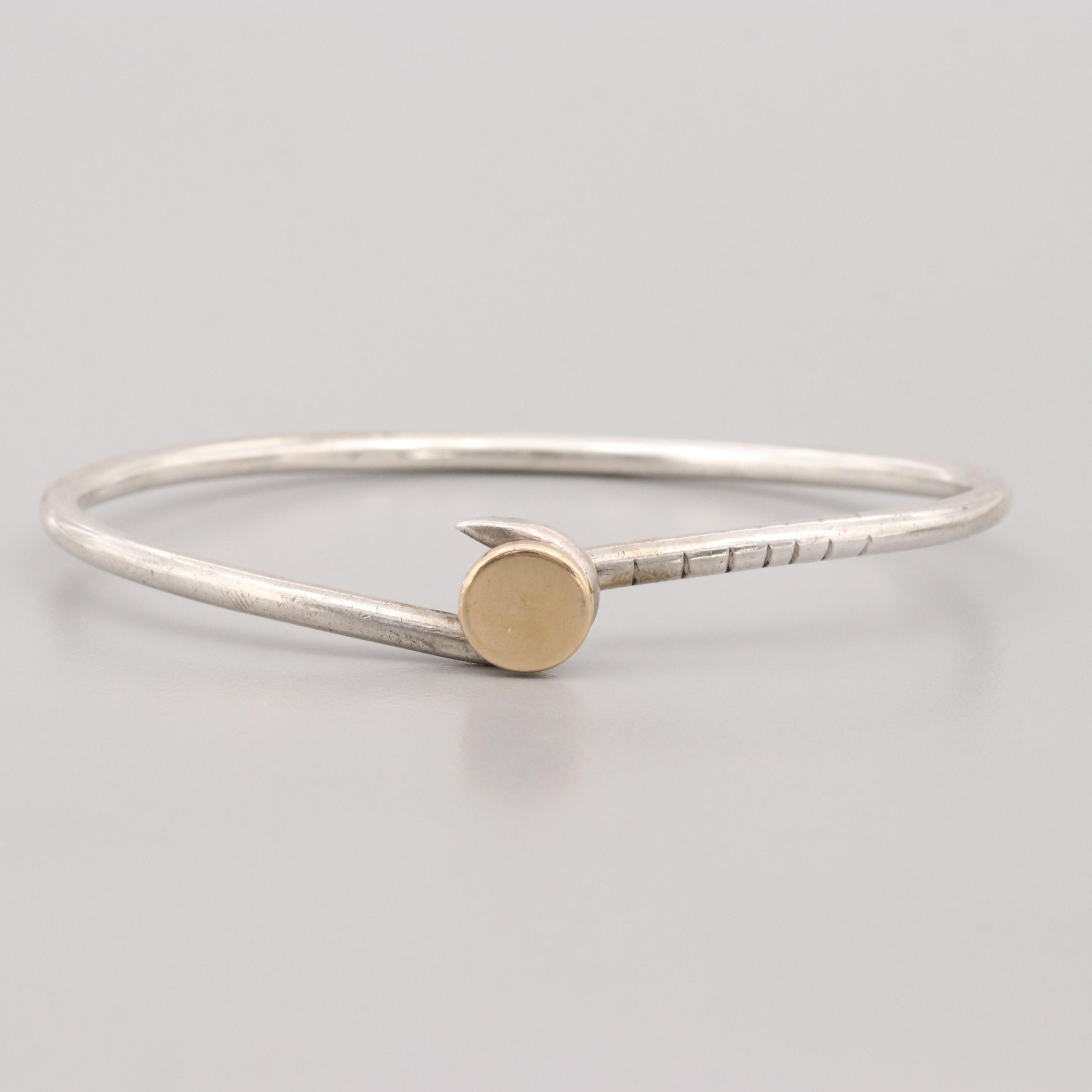 Doskow Sterling Silver Nail Bracelet with 14K Yellow gold Head