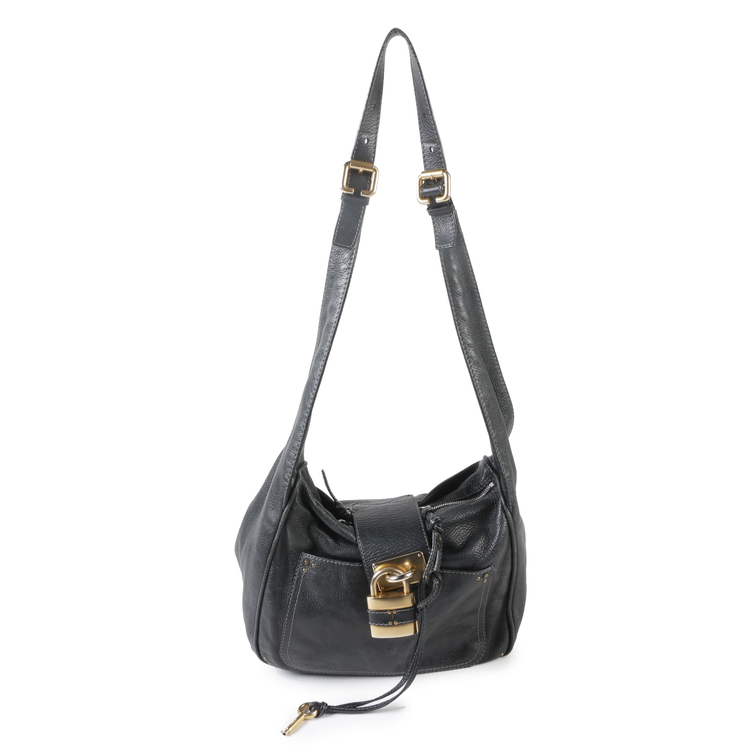 Chloé Black Pebble Grain Leather Paddington Hobo Bag