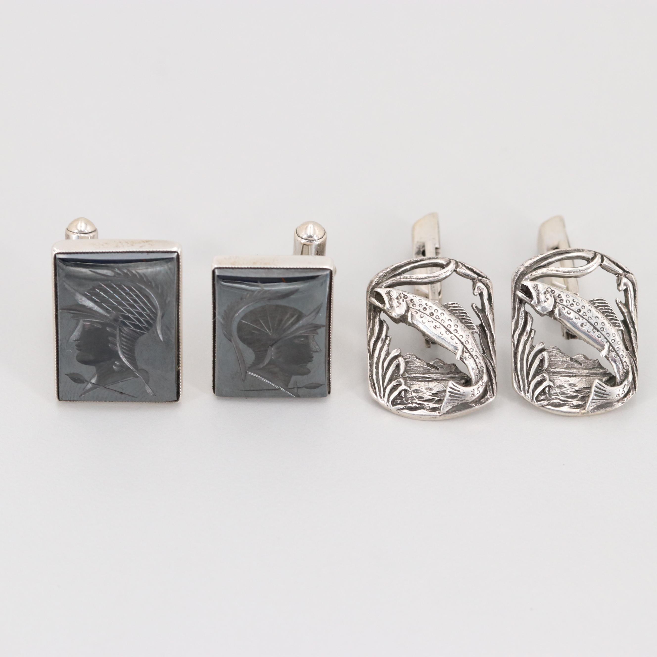 Sterling Silver Fishing Motif and Hematite Intaglio Cuff Links