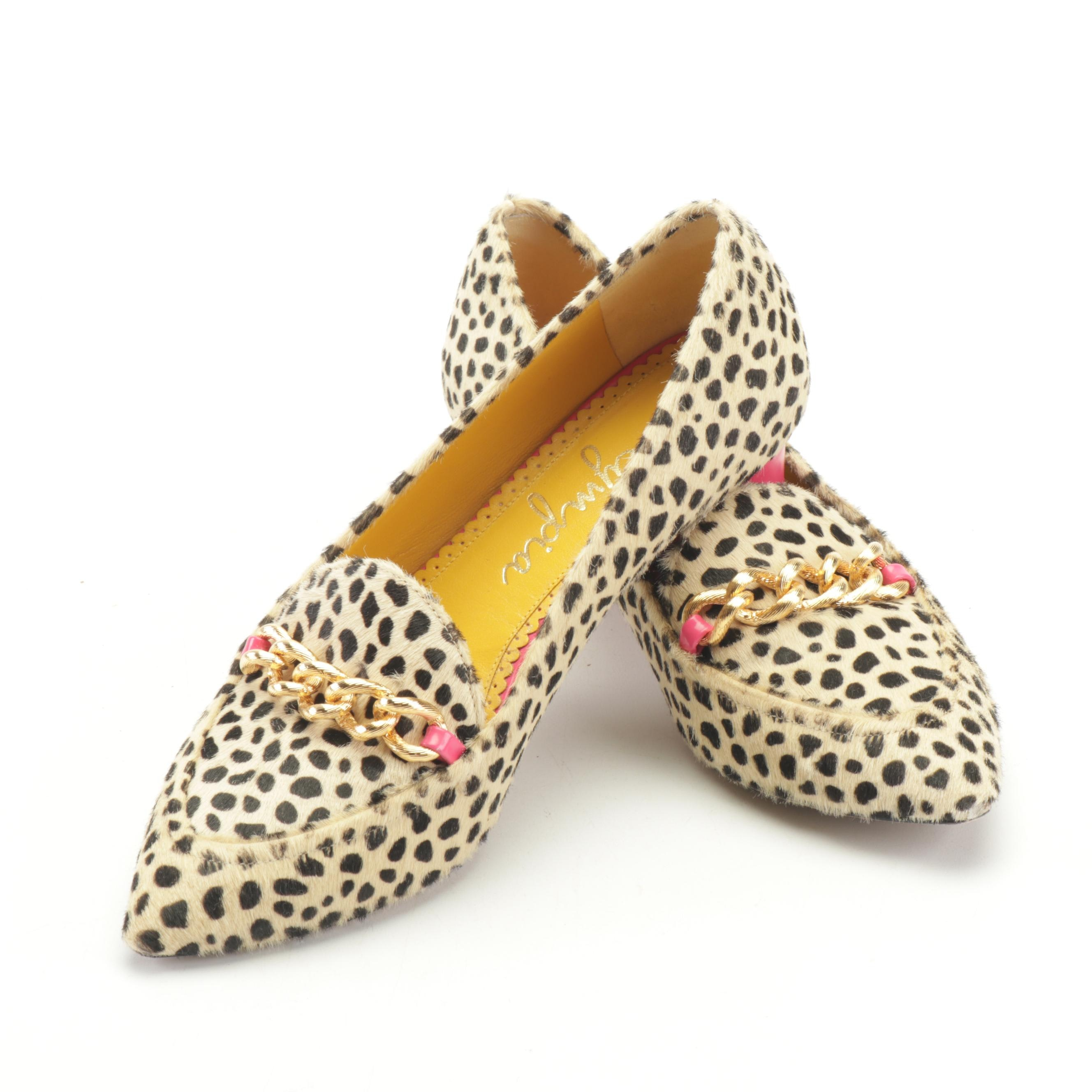 Charlotte Olympia Cheetah Print Francis Loafer with Chunky Heel
