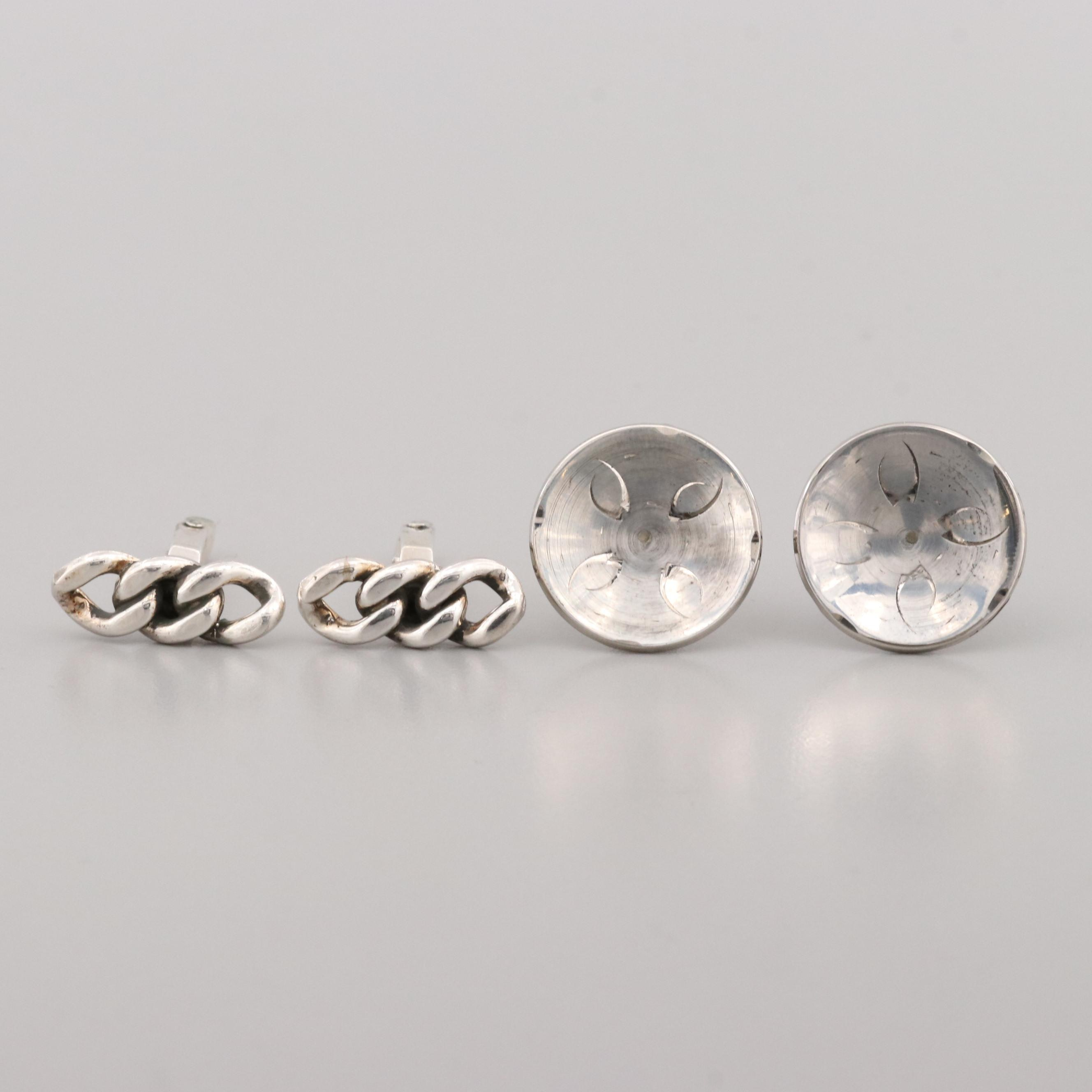 Two Pair of Sterling Silver Cufflinks