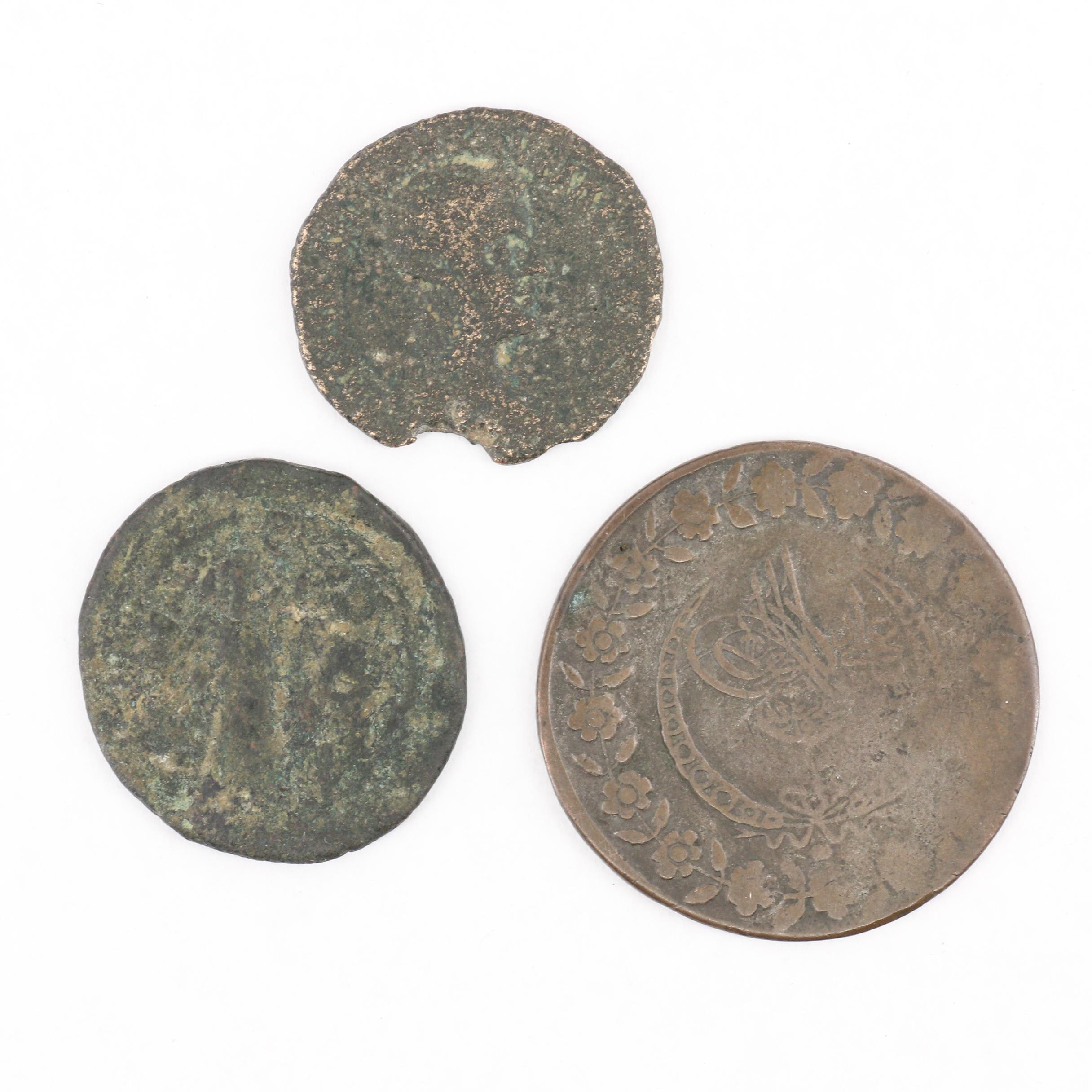 Three Ancient Roman, Byzantine and Ottoman Empire Coins