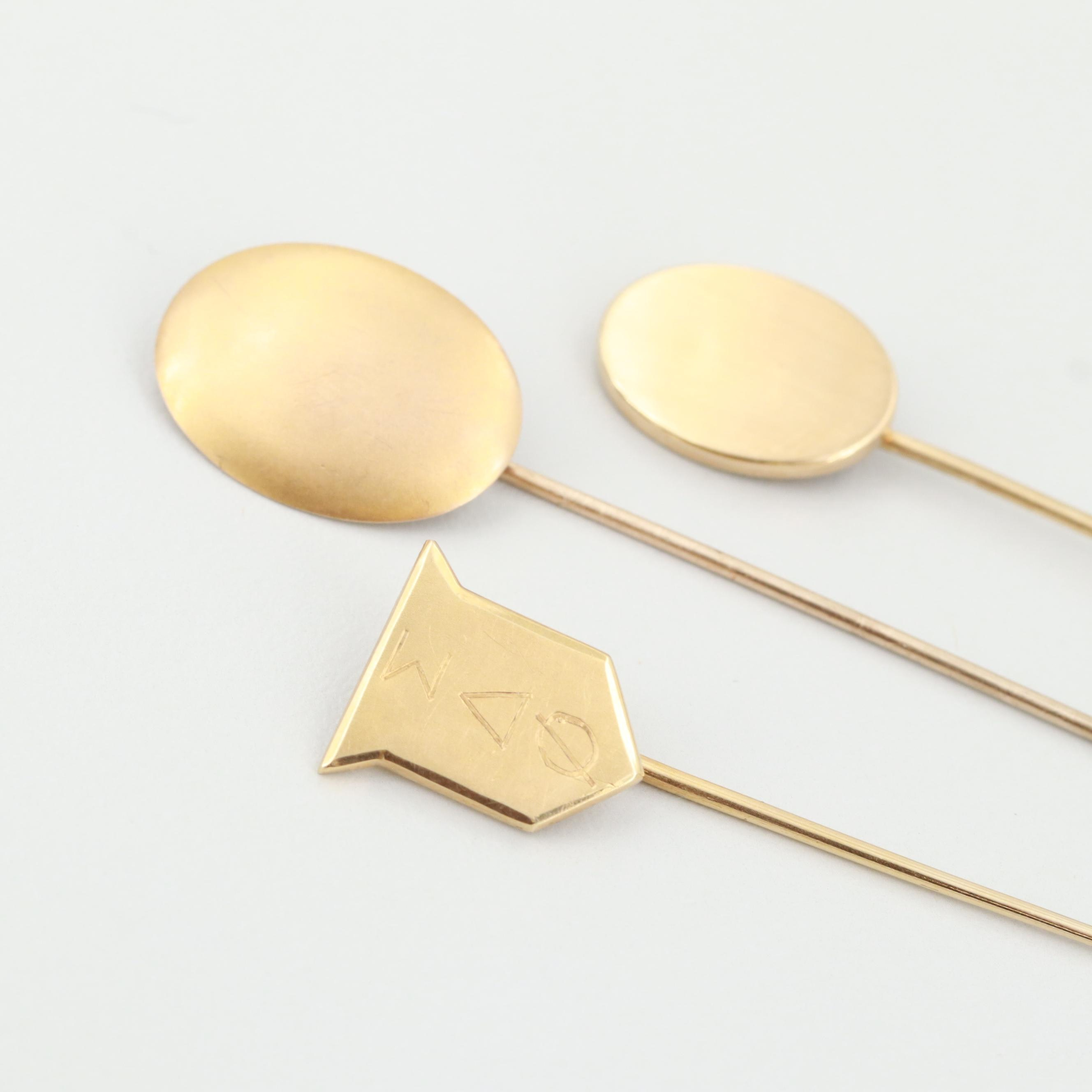 10K Yellow Gold Pin with Two Gold Tone Pins