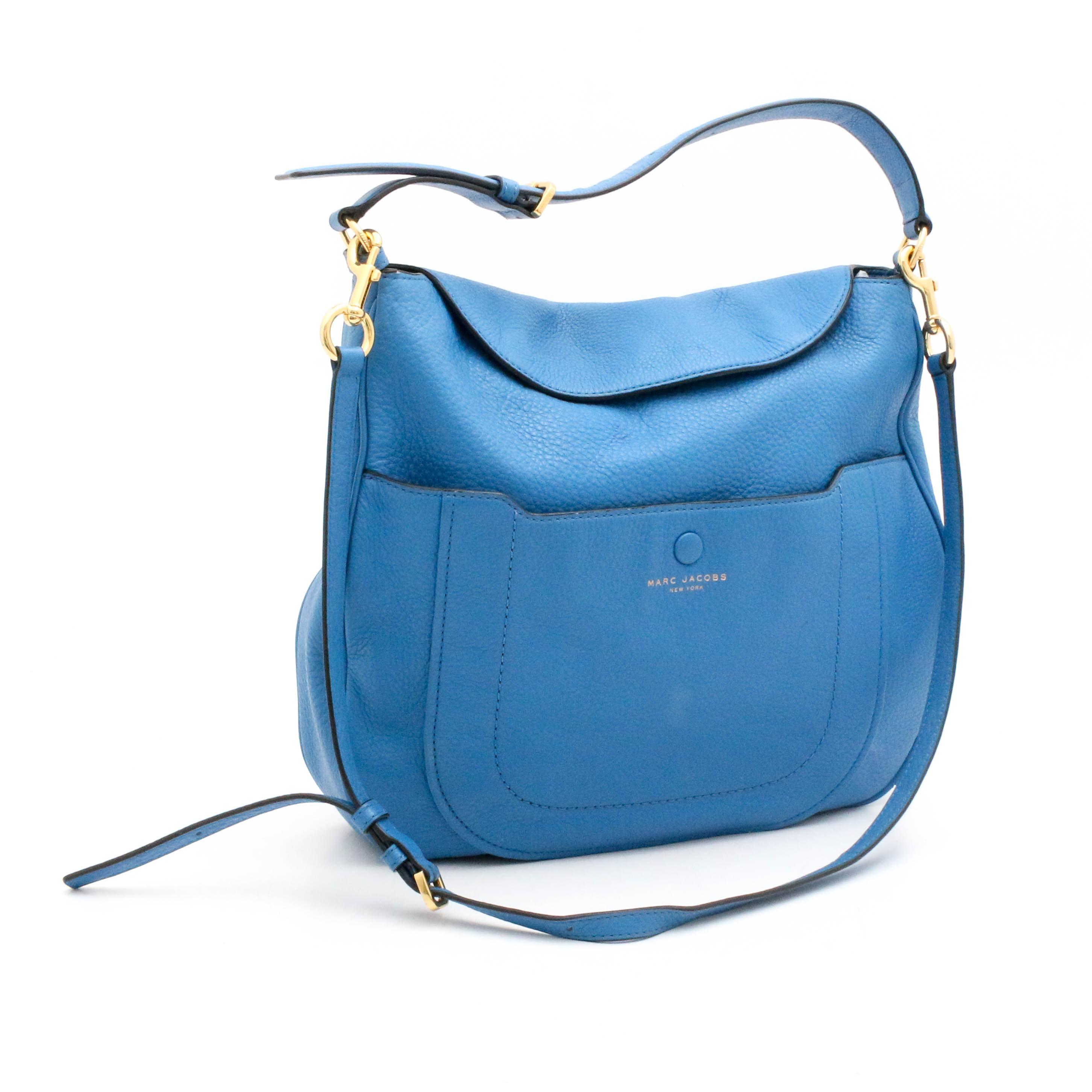 Marc Jacobs New York Empire City Blue Pebbled Leather Hobo Crossbody Bag