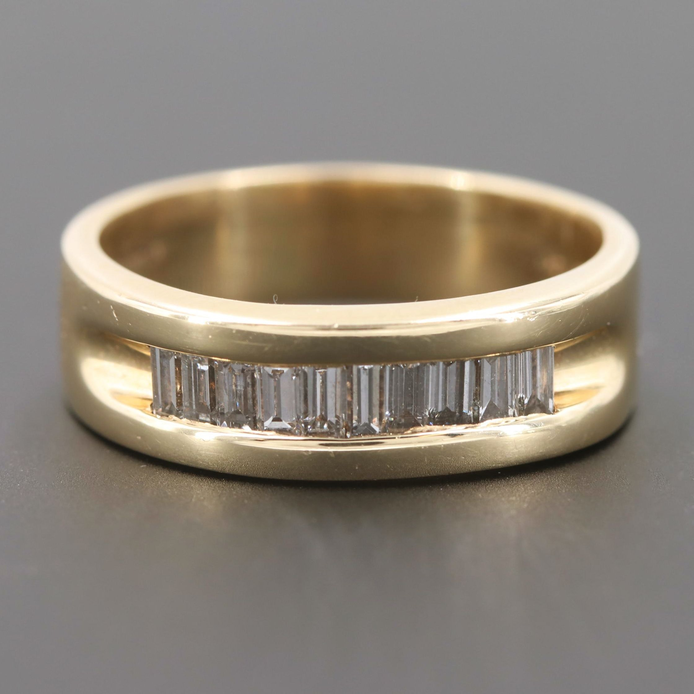 14K Yellow Gold Baguette Diamond Band