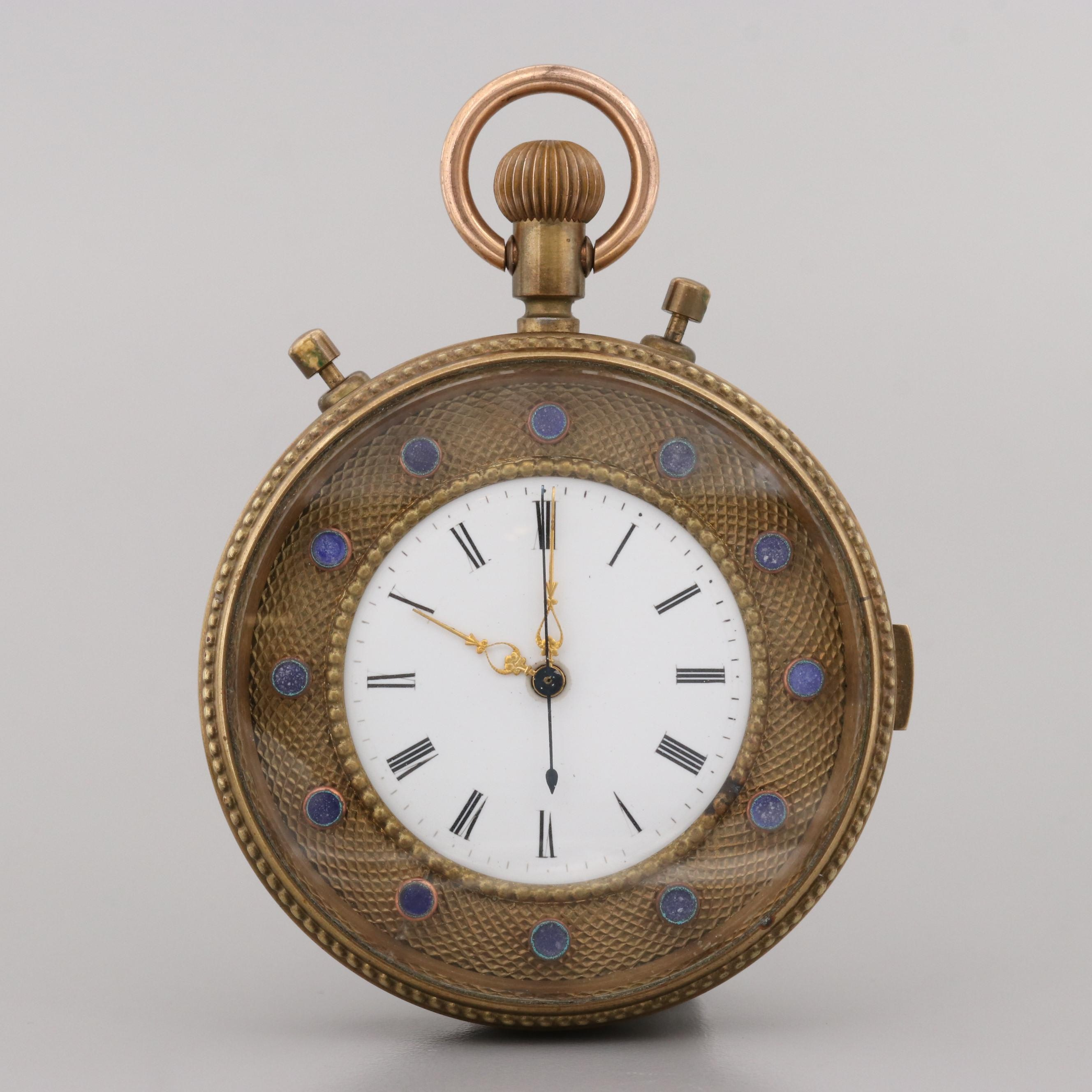 Brass and Enamel 1/4 Repeater Chronograph Pocket Watch