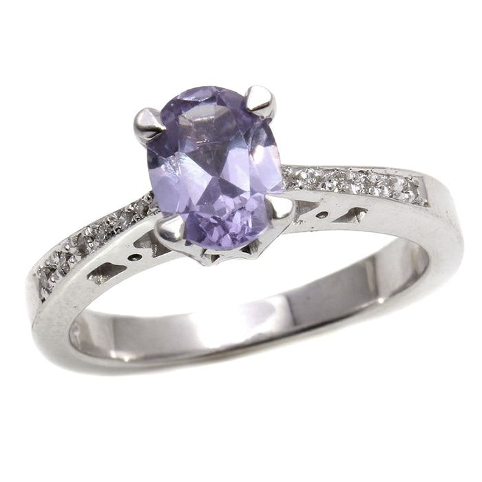 18K White Gold 1.40 CT Synthetic Sapphire and 0.10 CTW Diamond Ring