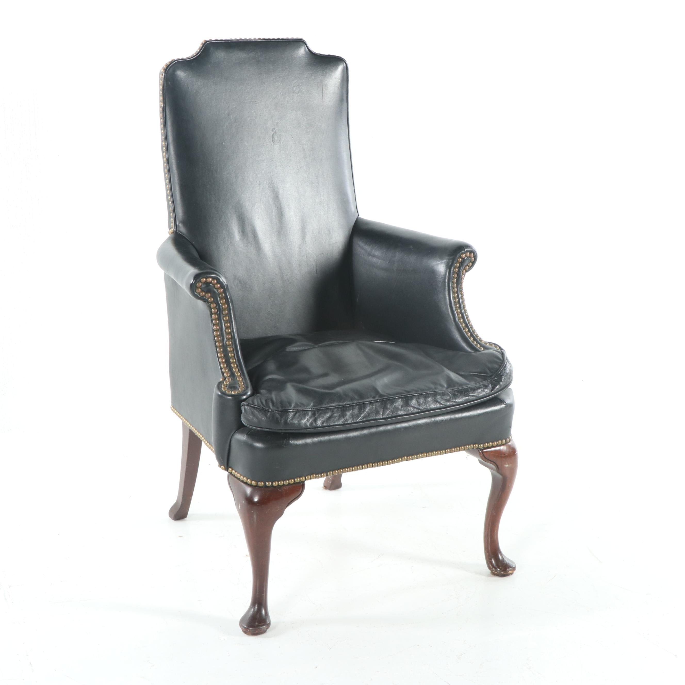 Queen Anne Style Leather Armchair, Late 20th Century