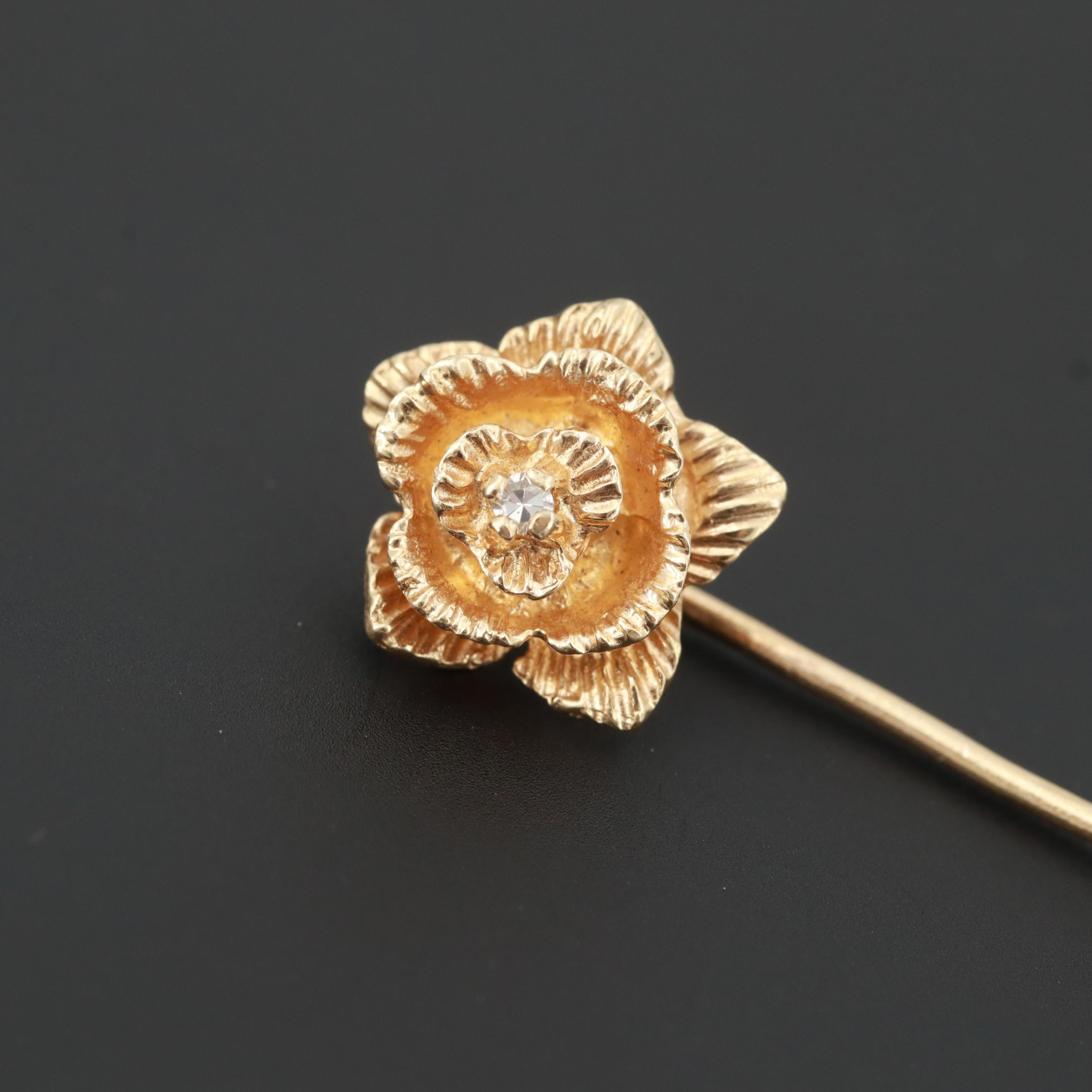 14K Yellow Diamond Flower Stick Pin