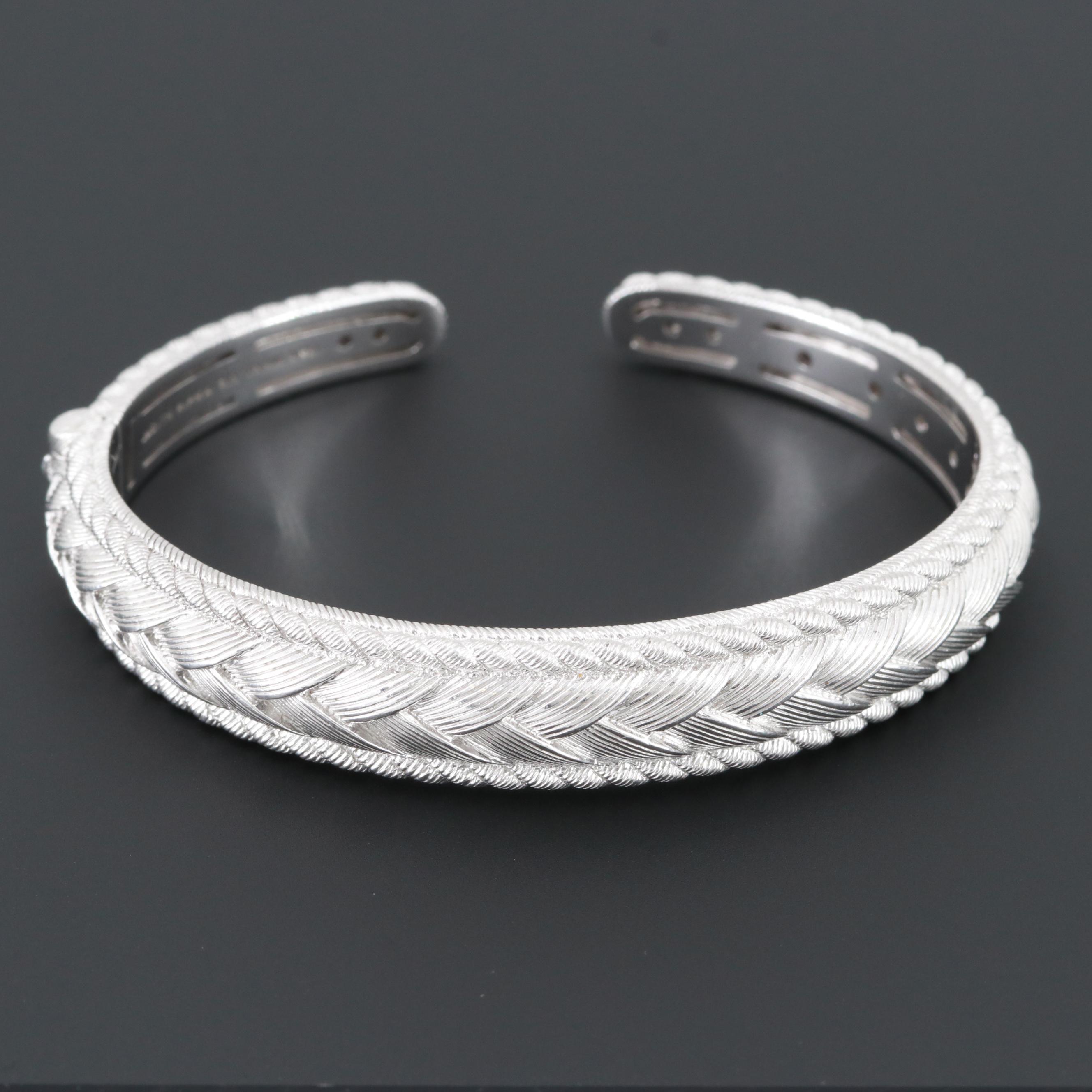 Judith Ripka Sterling Silver Hinged Cuff Bracelet