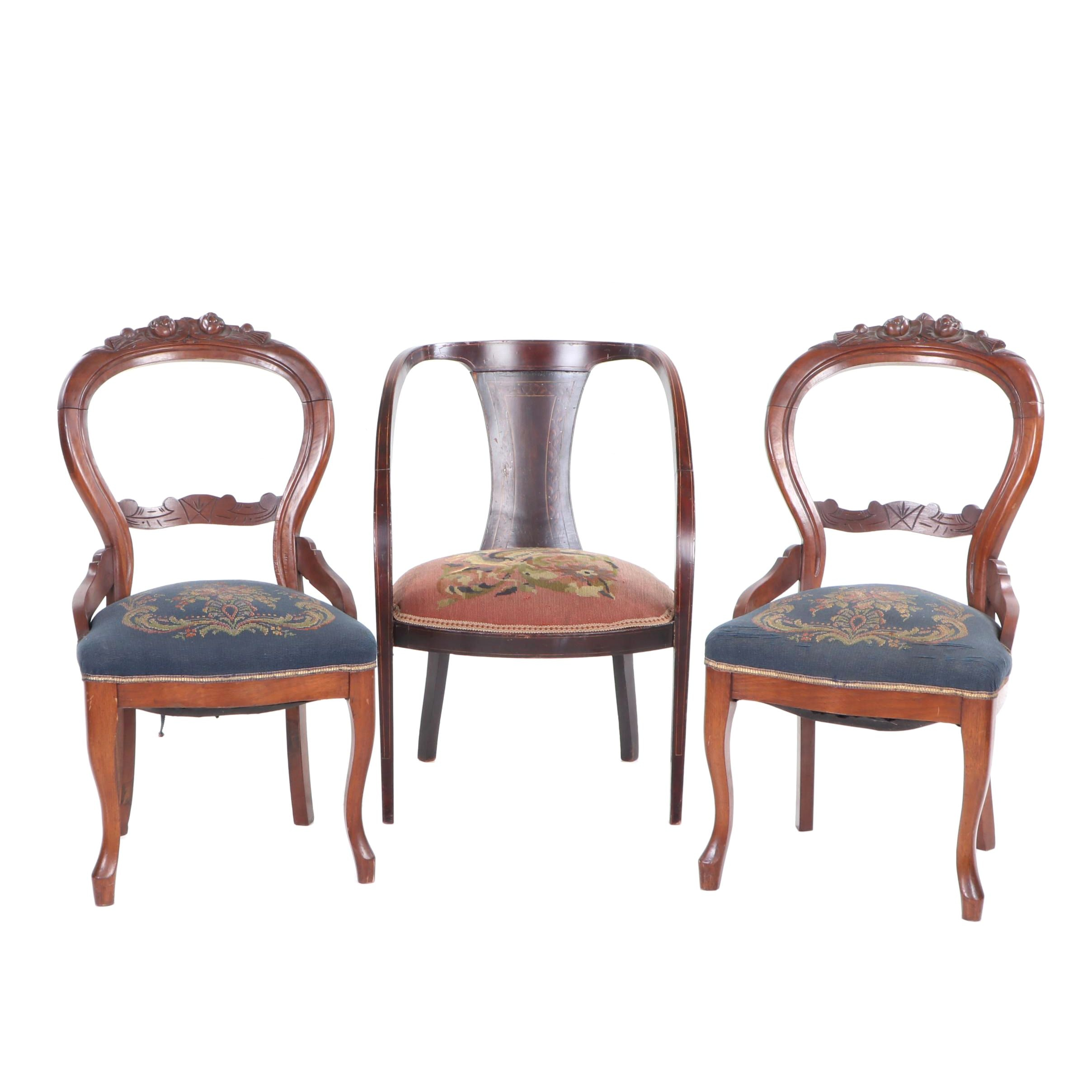 Victorian Period Mahogany Needlepoint Side Chairs, Late 19th Century