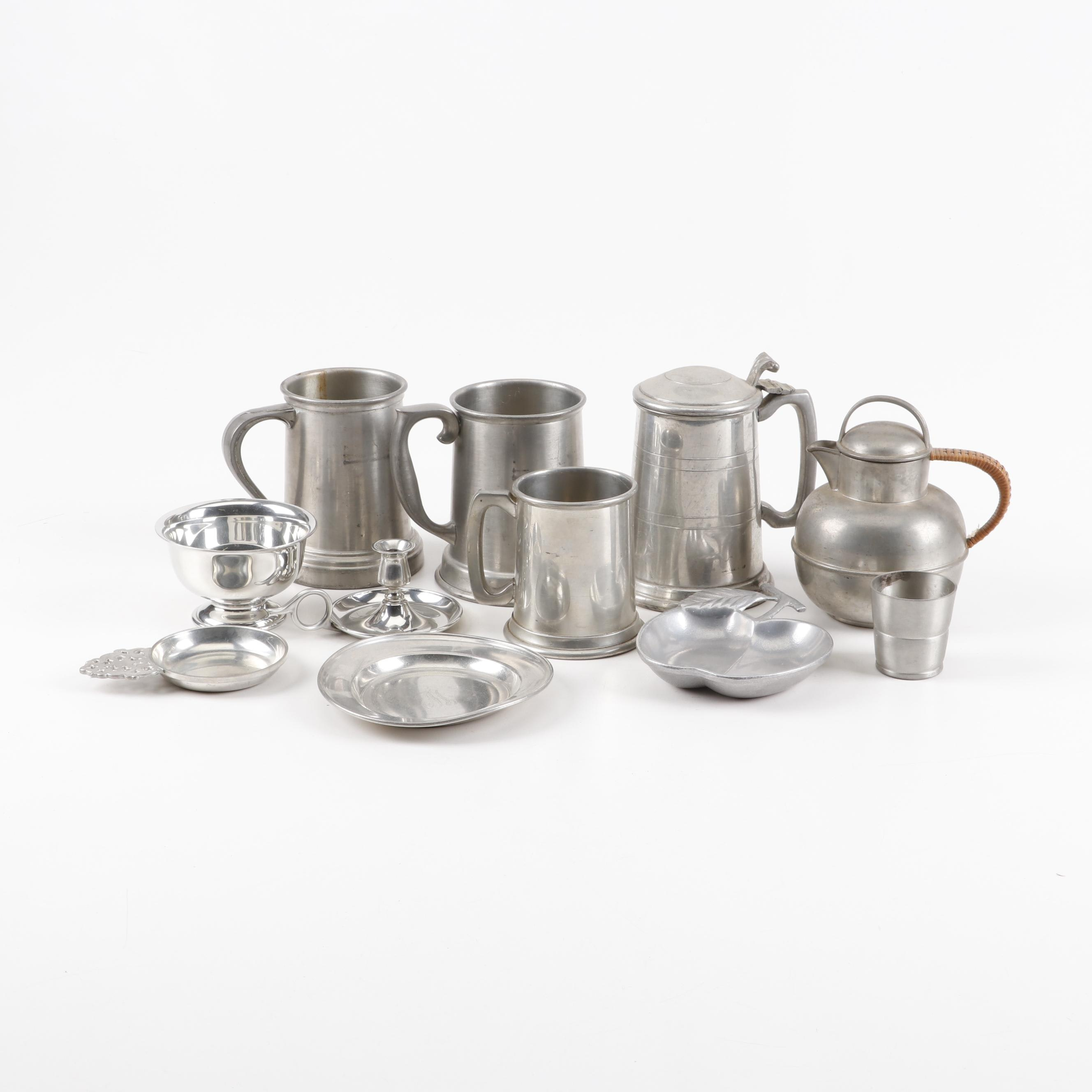 Pewter Tankards and Other Tableware, Mid to Late 20th Century
