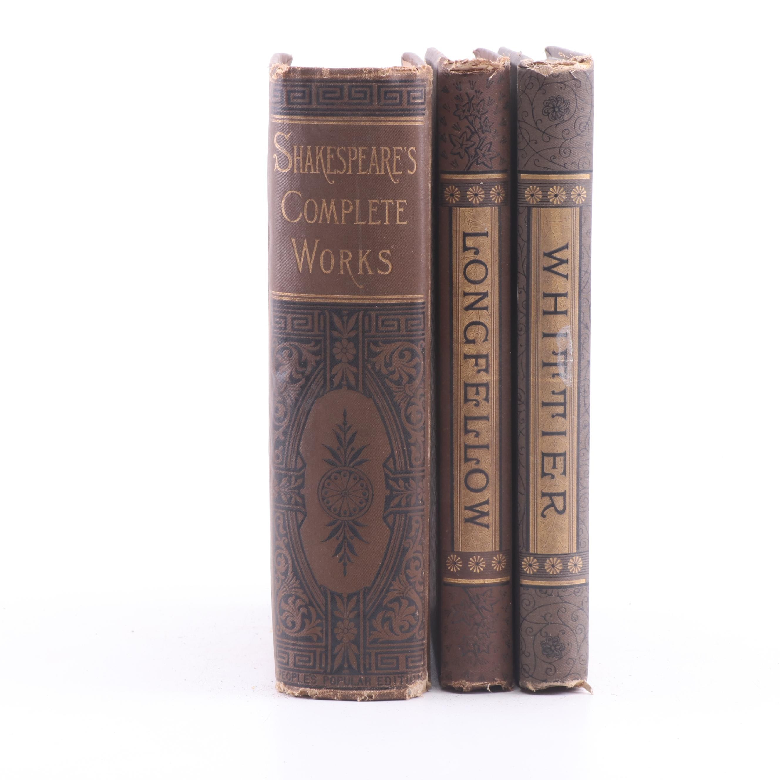 Works of Shakespeare, Whittier and Longfellow, Late 19th Century