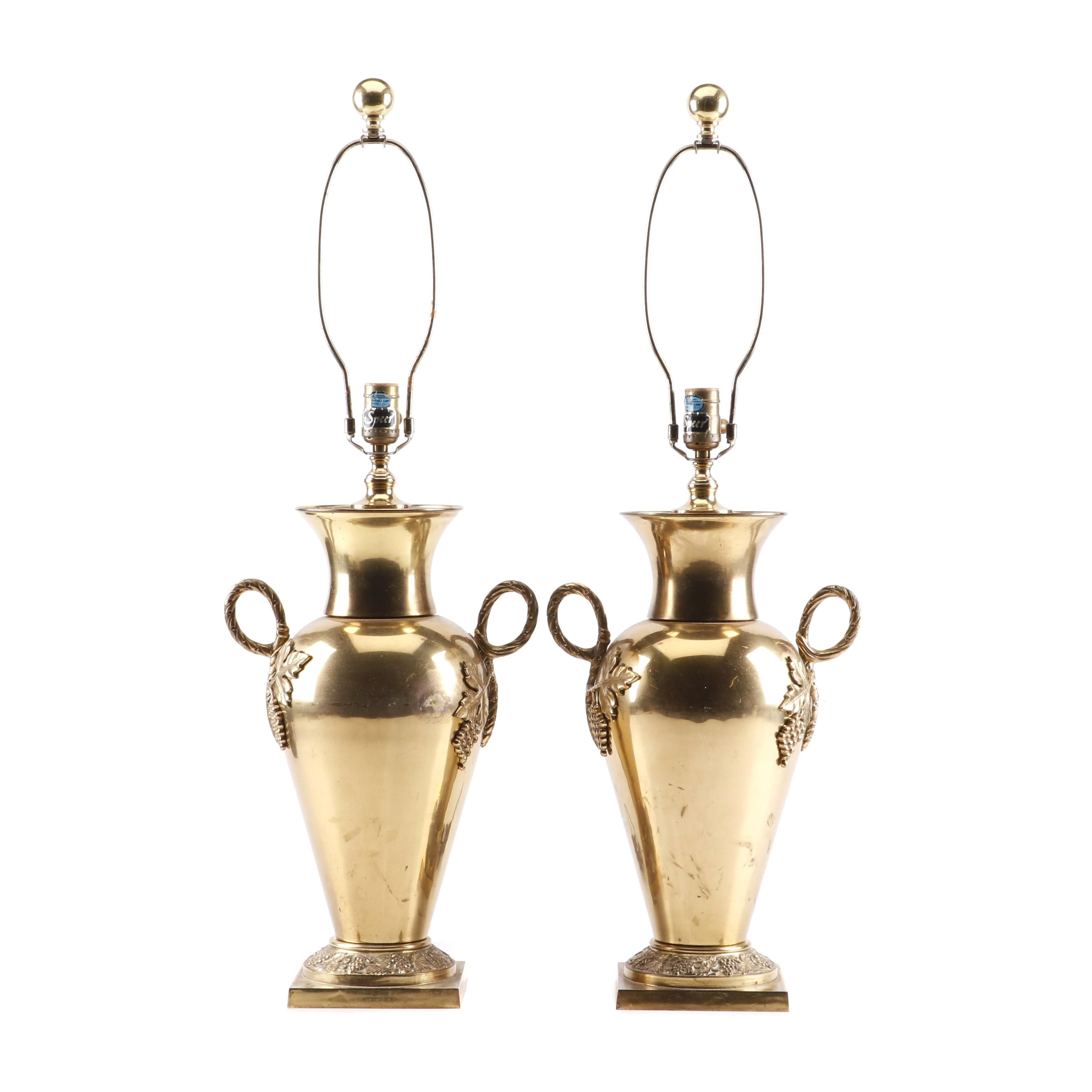 Speer Neoclassical Style Brass Urn Form Table Lamps, Circa 1940