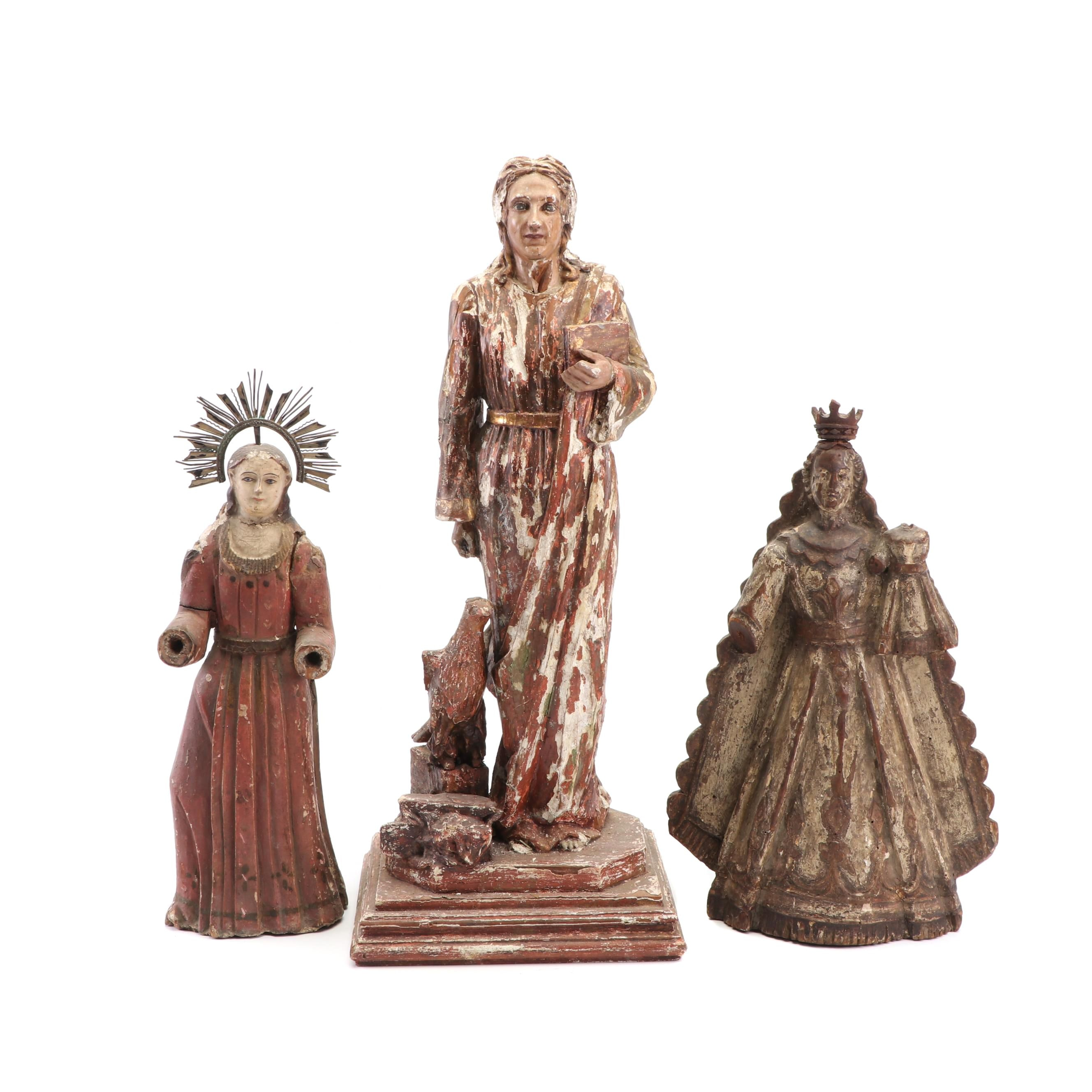 Spanish Colonial Style Wooden Santos Figures, Late 19th Century